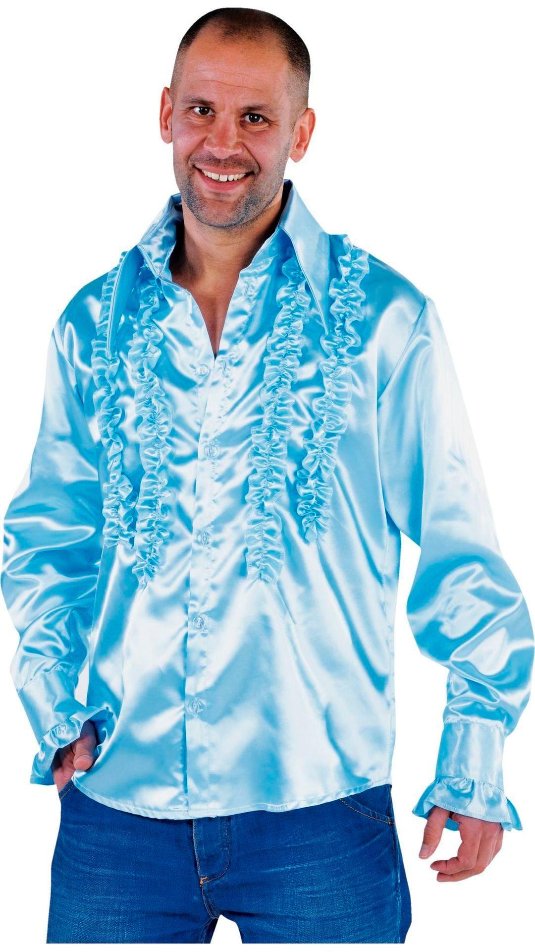 Blauwe rouches blouse heren