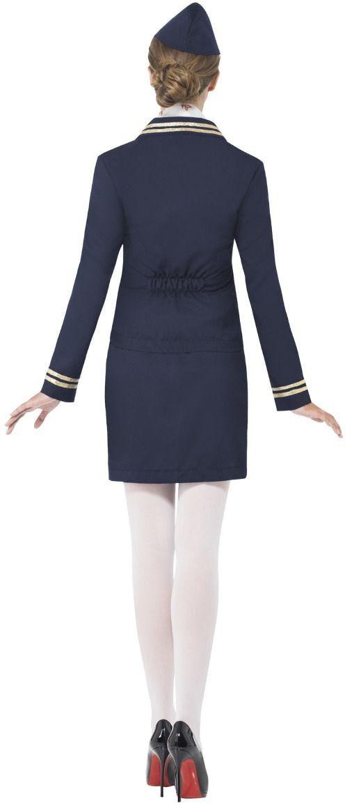 Blauwe stewardess kostuum