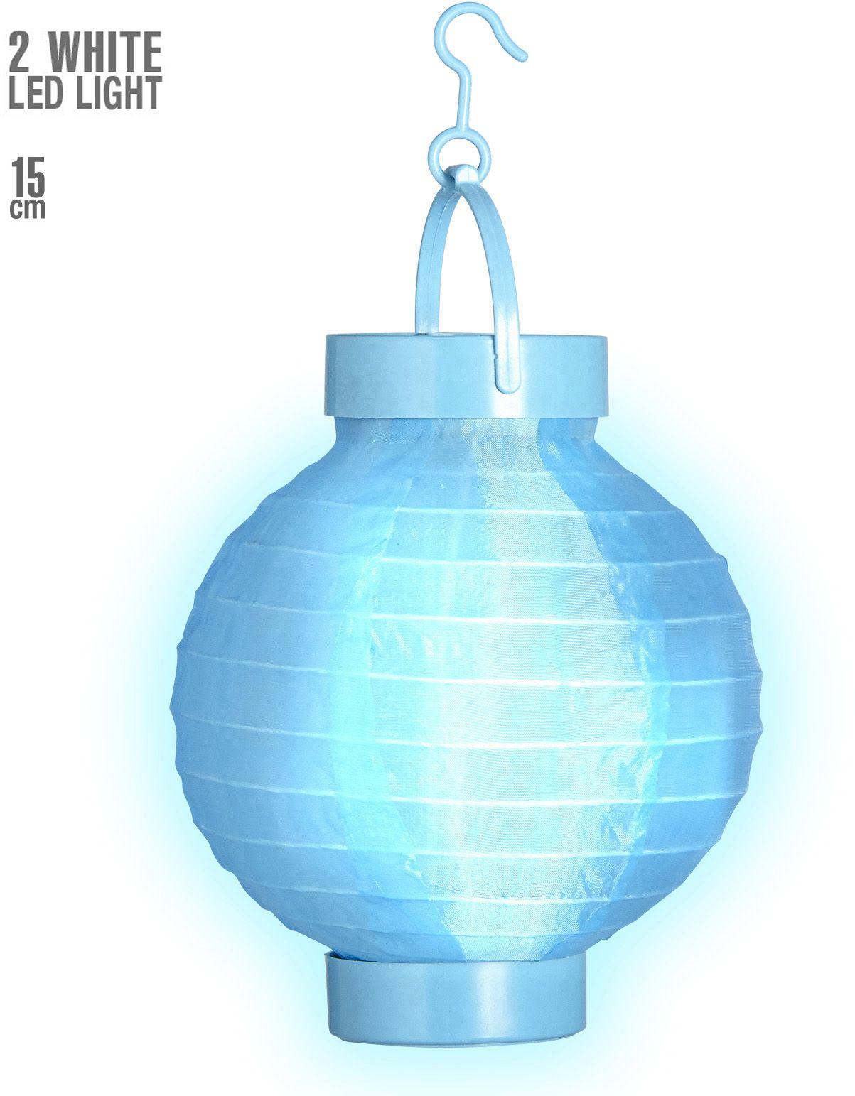 Blauwe stoffen lantaarn met 2 witte LED lichten