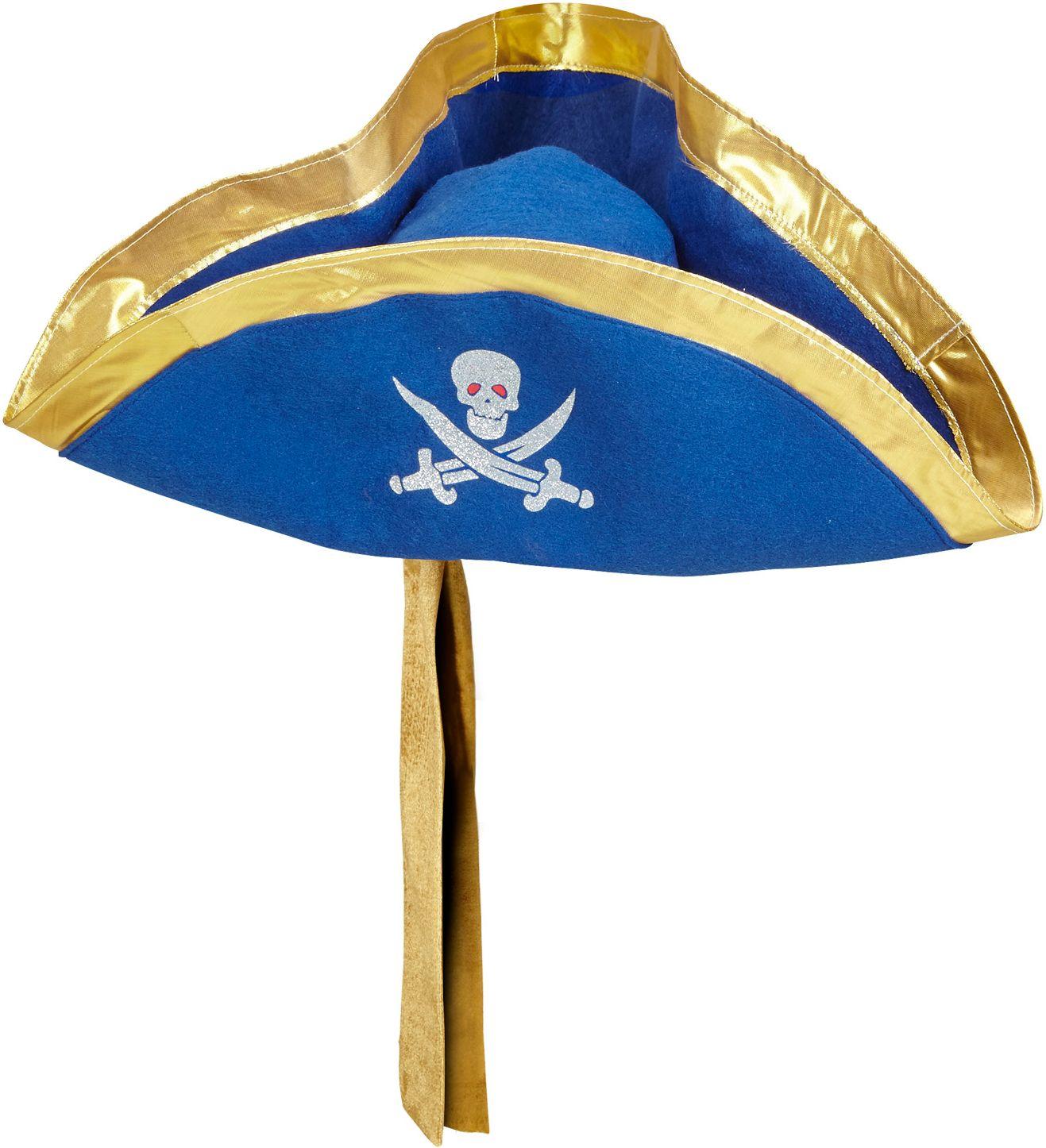 Blauwe tricorn hoed met hoofdband