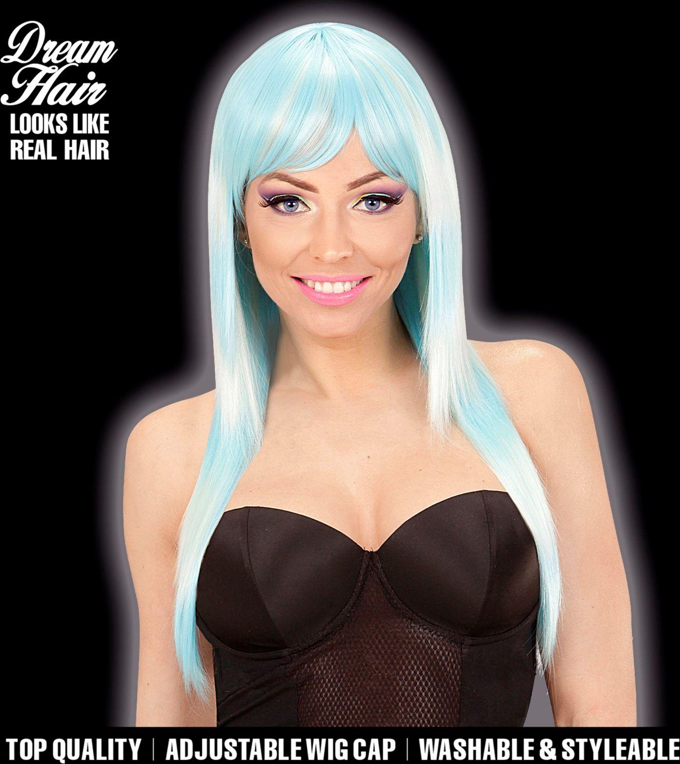 Blauwe turquoise gestreepte pruik dames