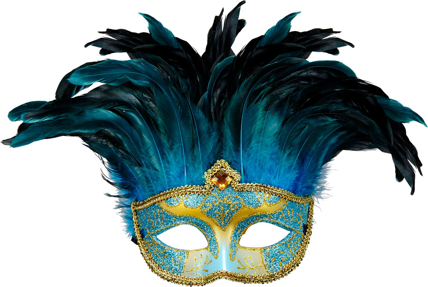 Blauwe venetiaanse gravin oogmasker met veren