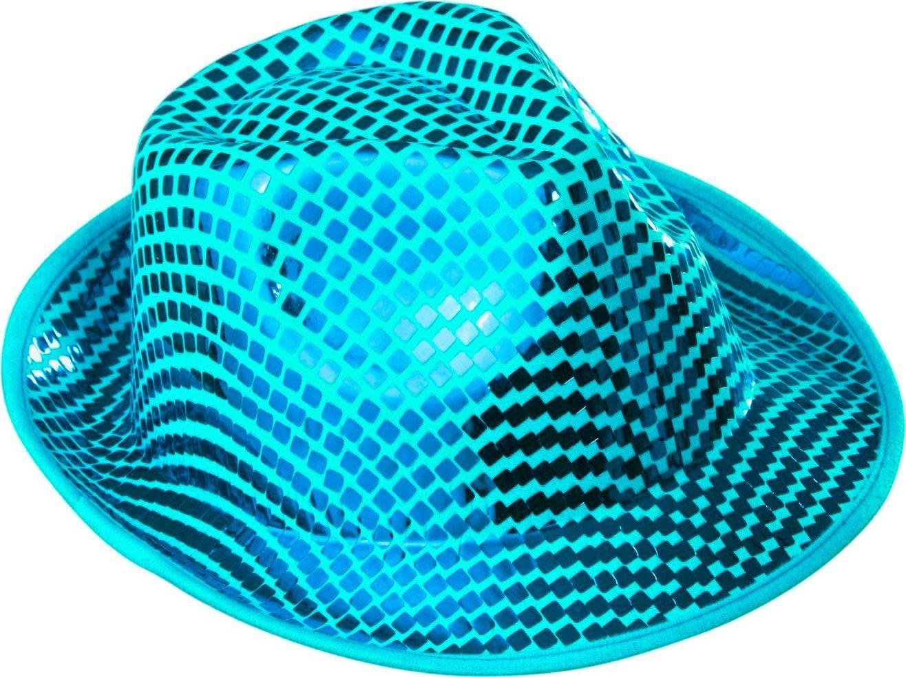 Blauwe vierkante pailletten fedora