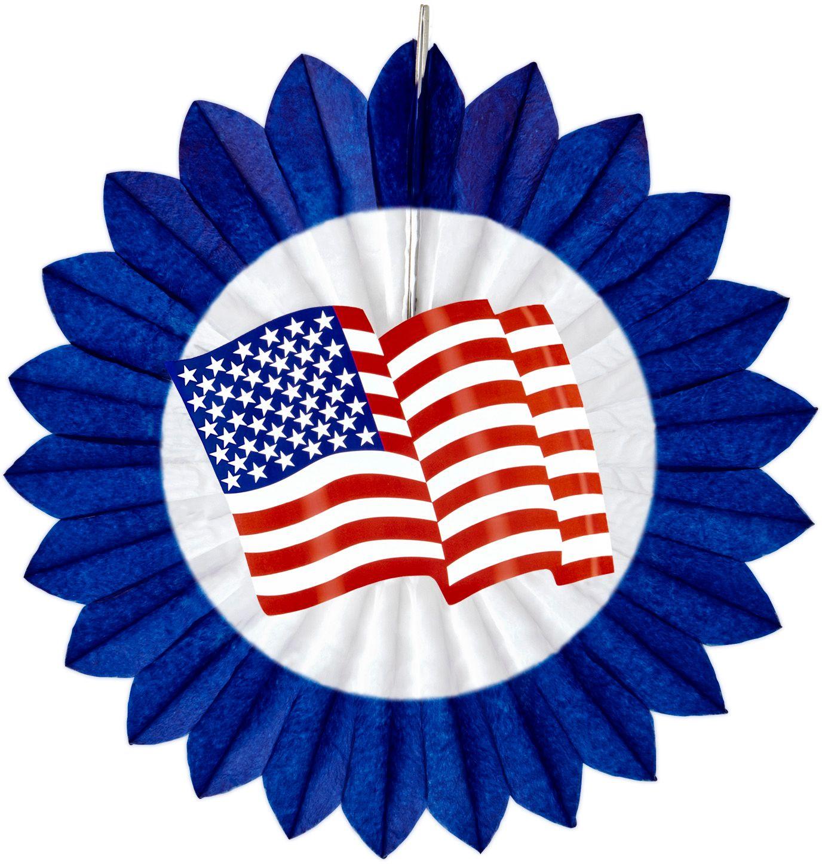 Blauwe waaier met USA vlag