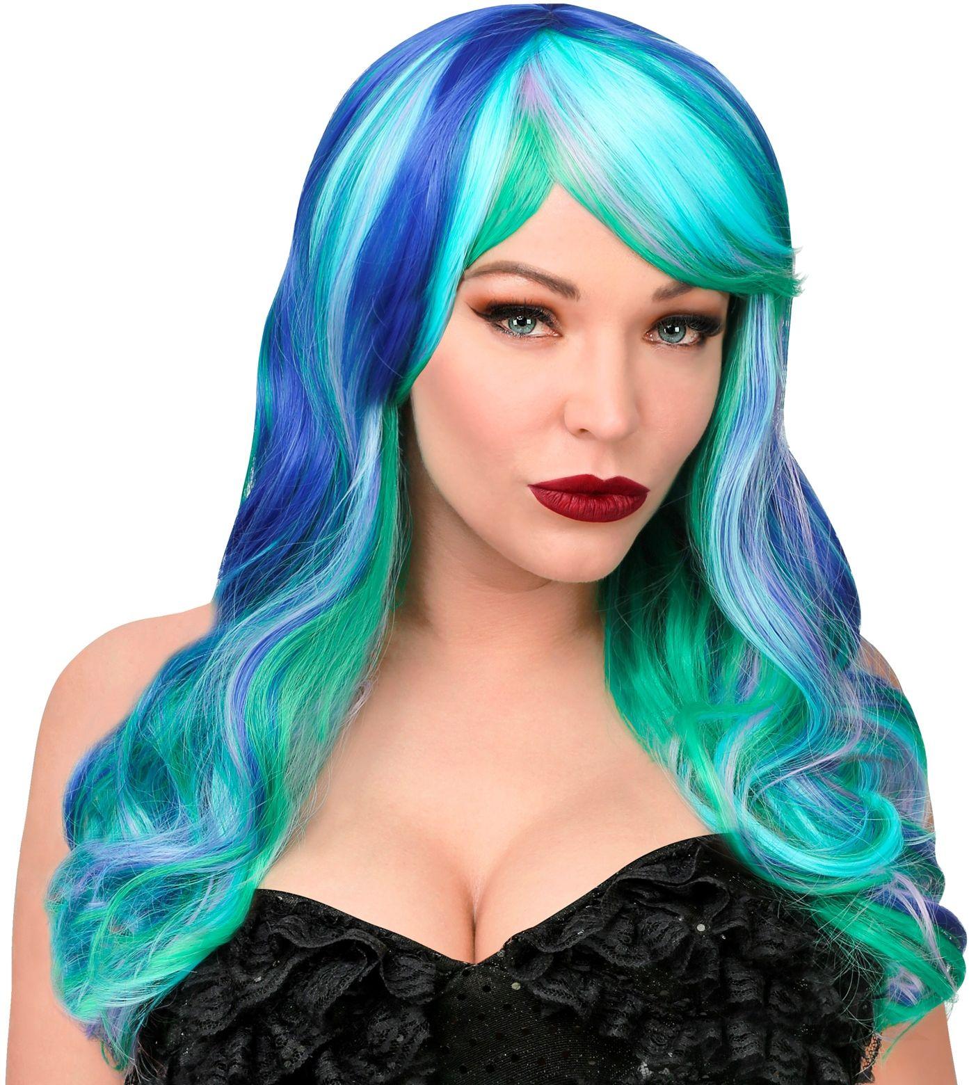Blauwe zeemeermin pruik dames