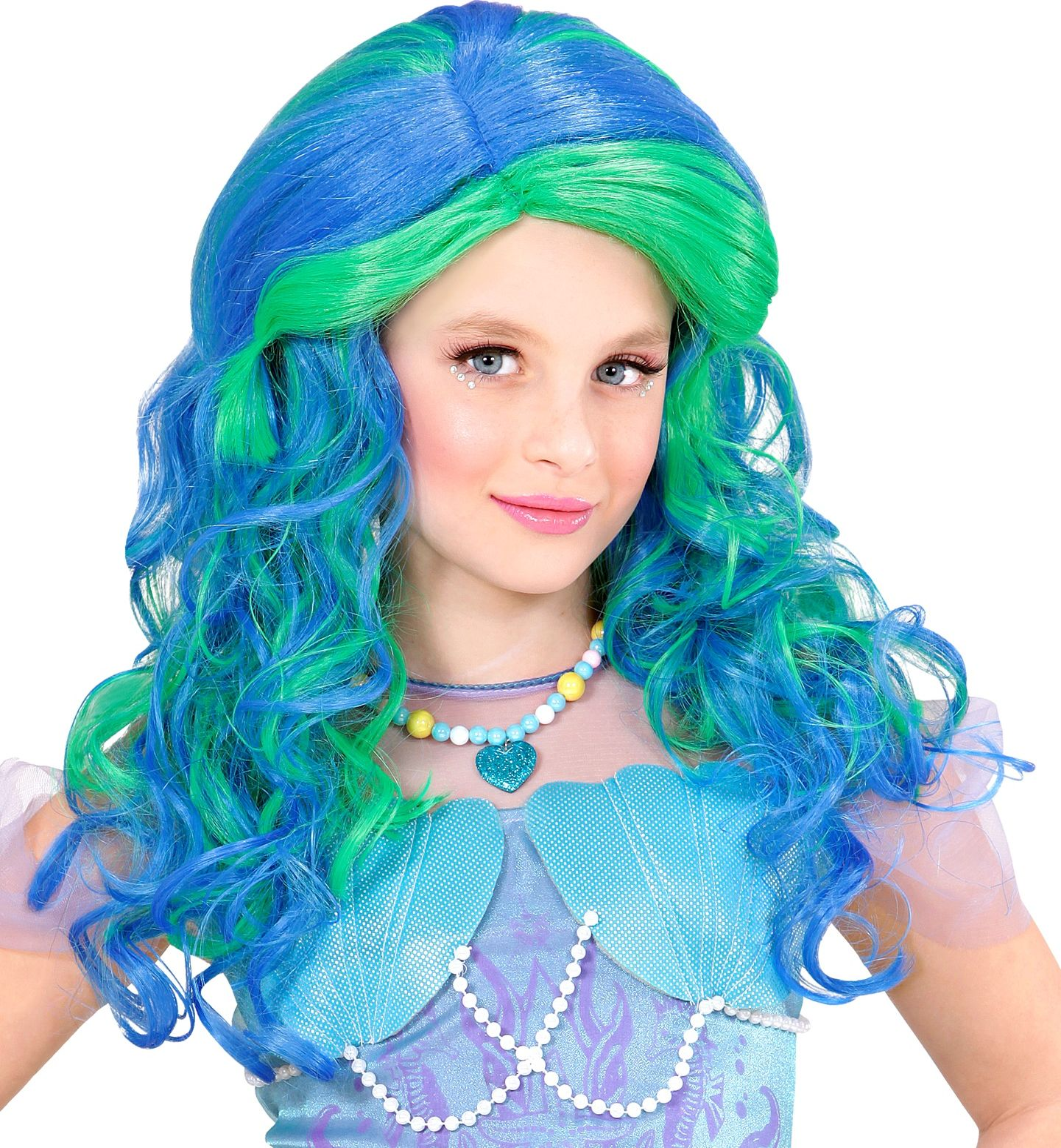 Blauwe zeemeermin pruik kind