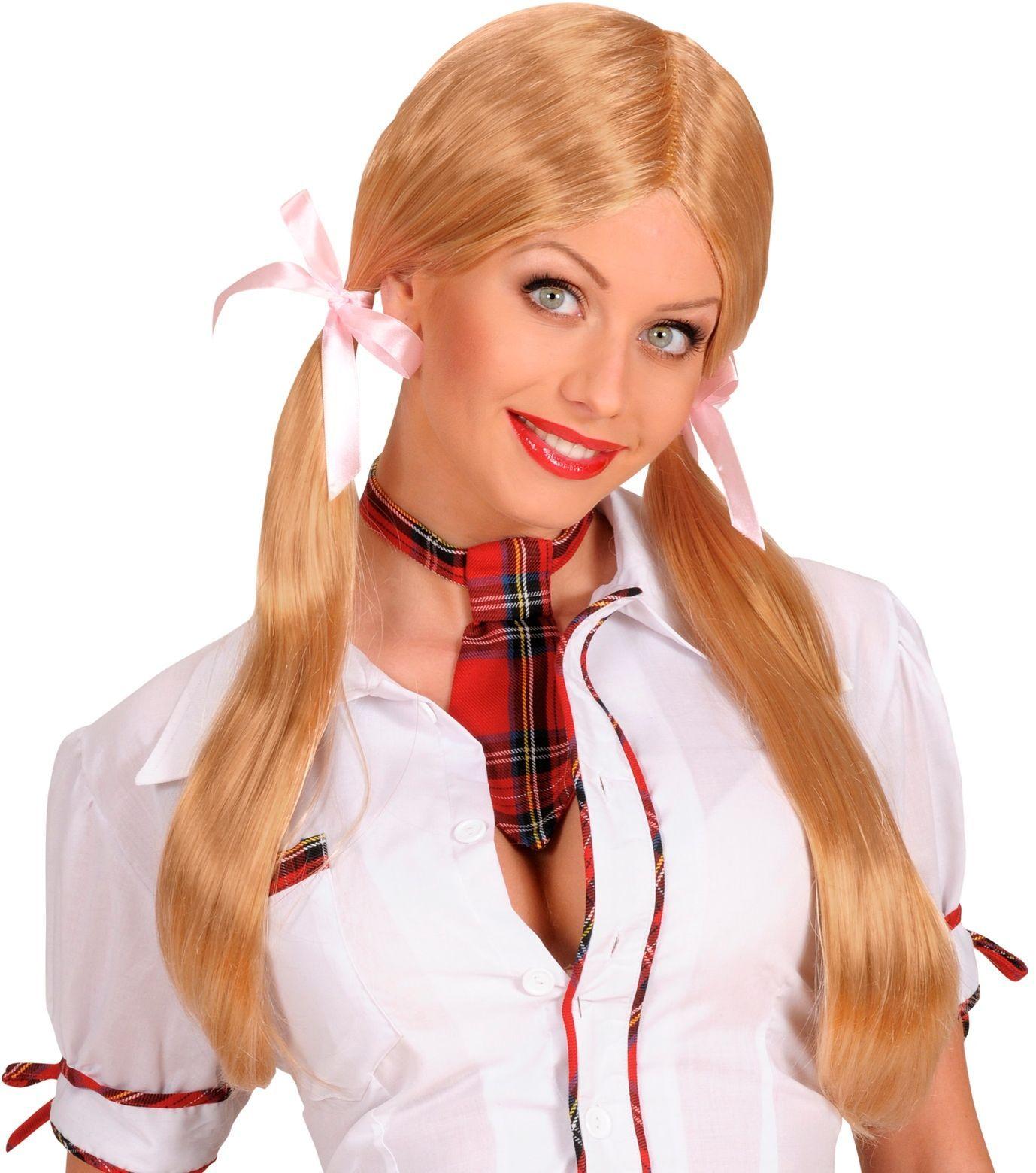 Blond schoolmeisje pruik