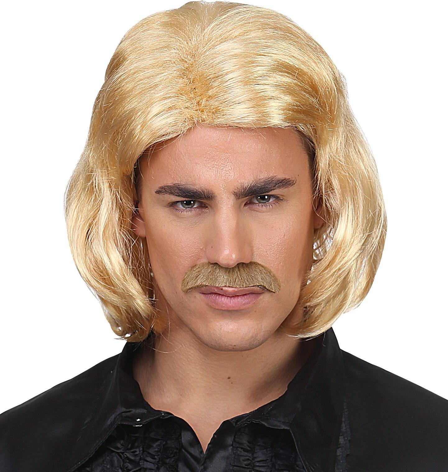Blonde 70s disco pruik heren