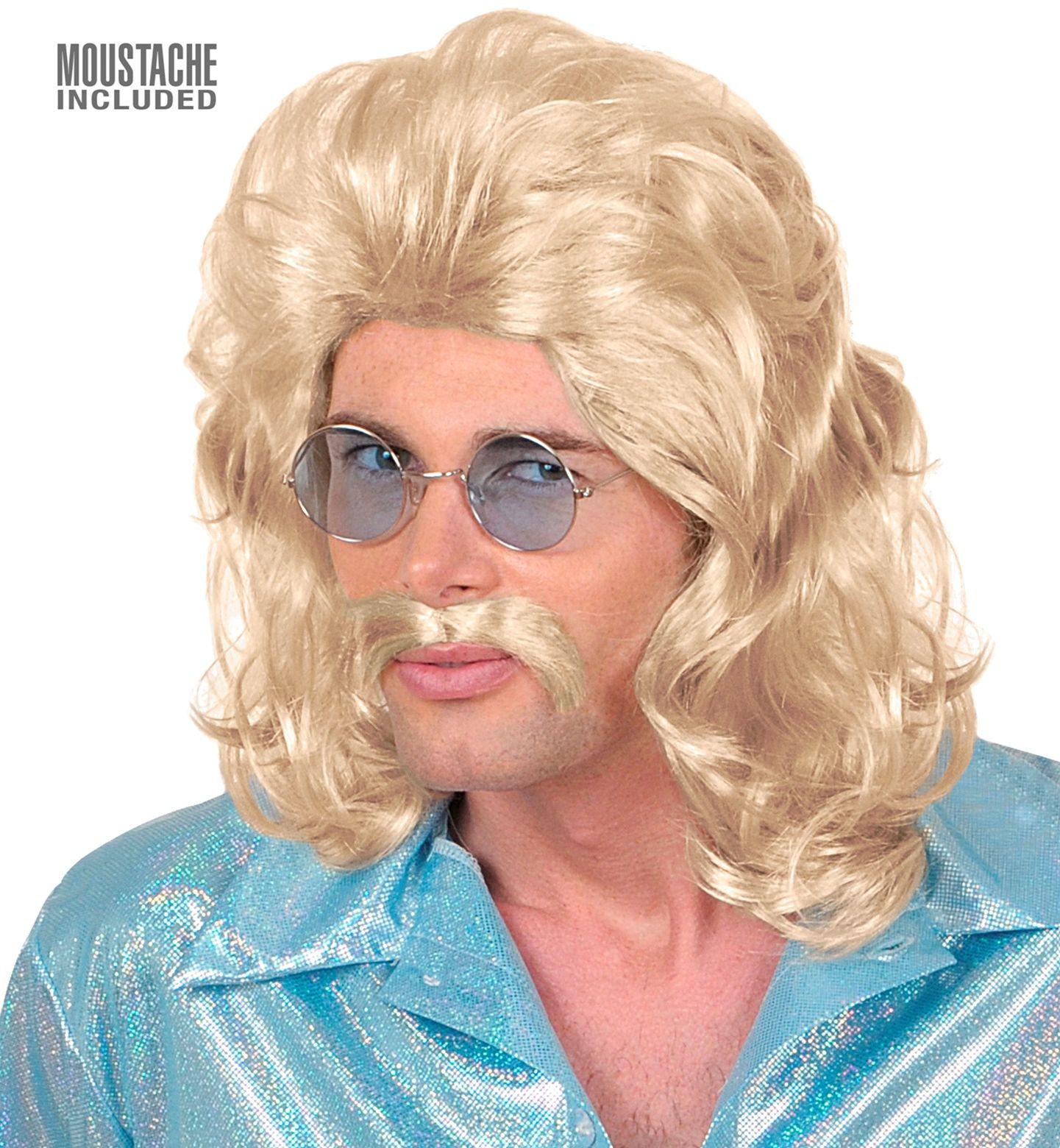 Blonde 70's pruik met snor