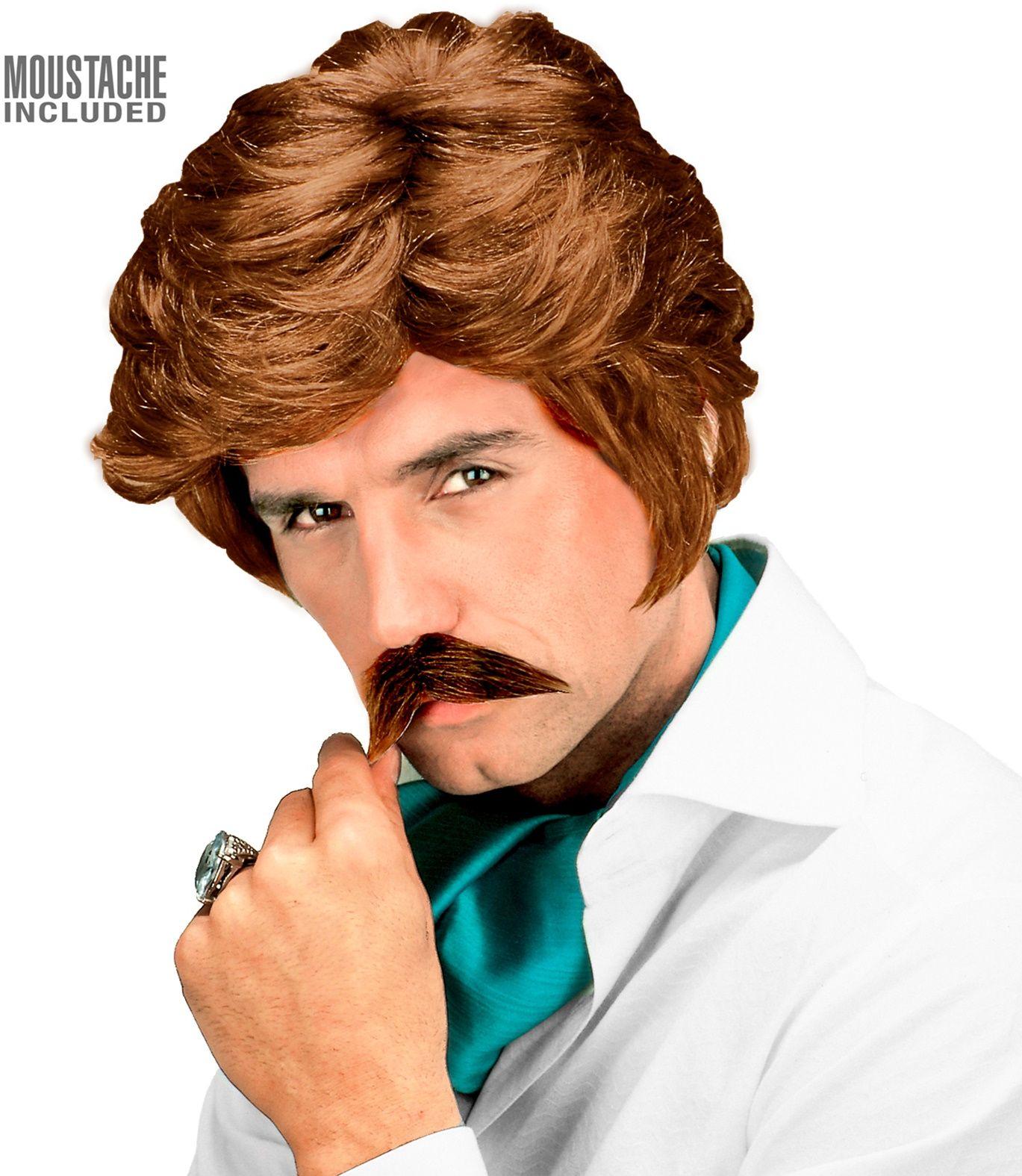 Blonde 80s playboy pruik met snor