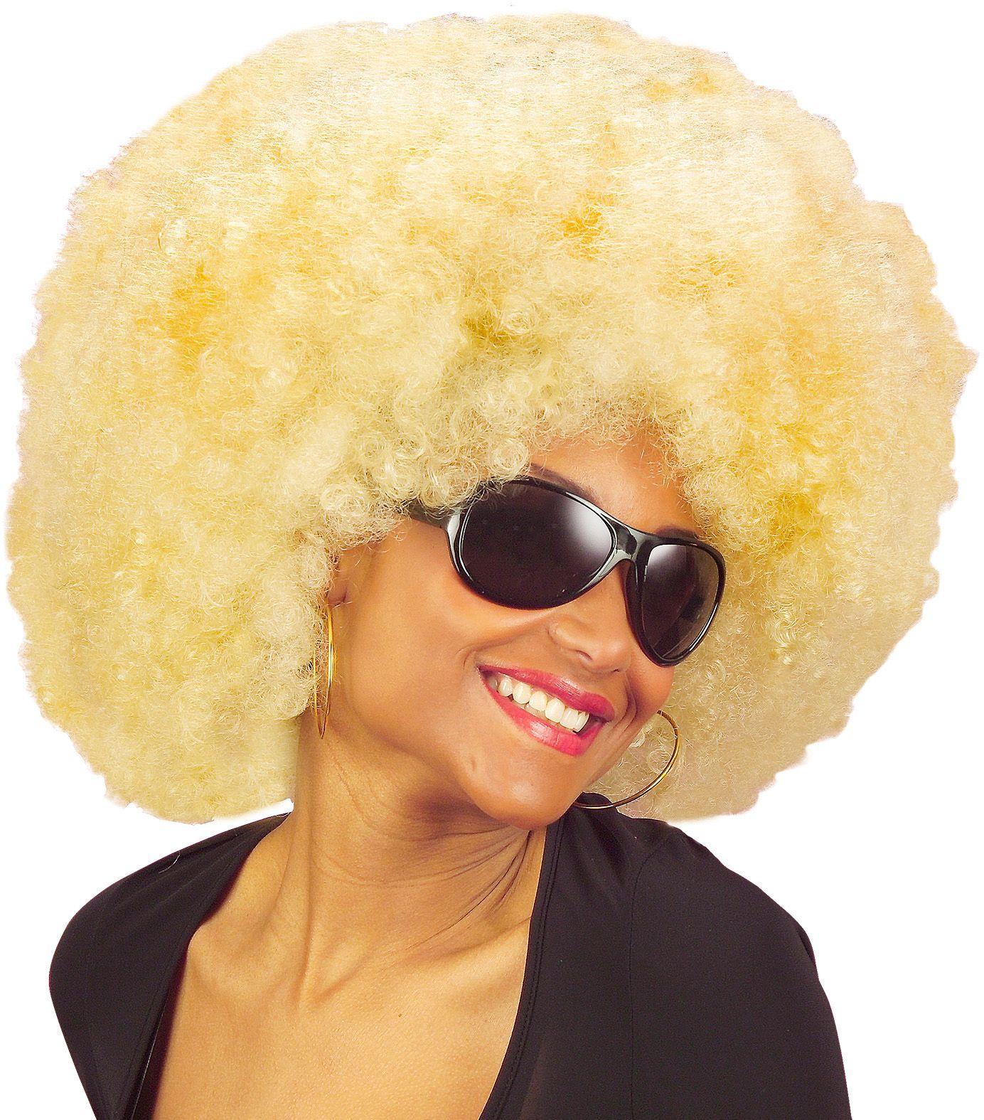 Blonde afro pruik met krullen