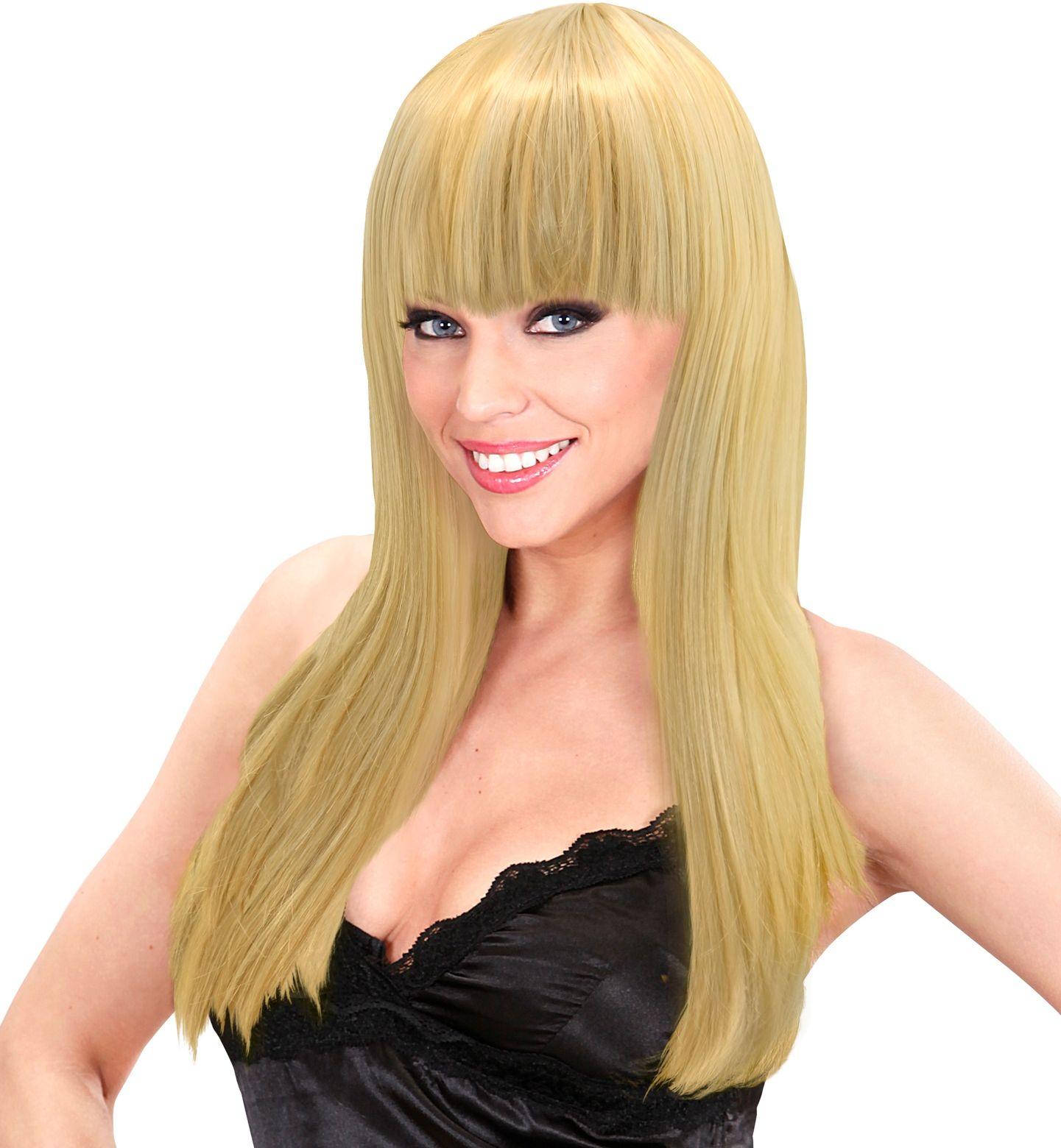 Blonde beauty pruik lang haar