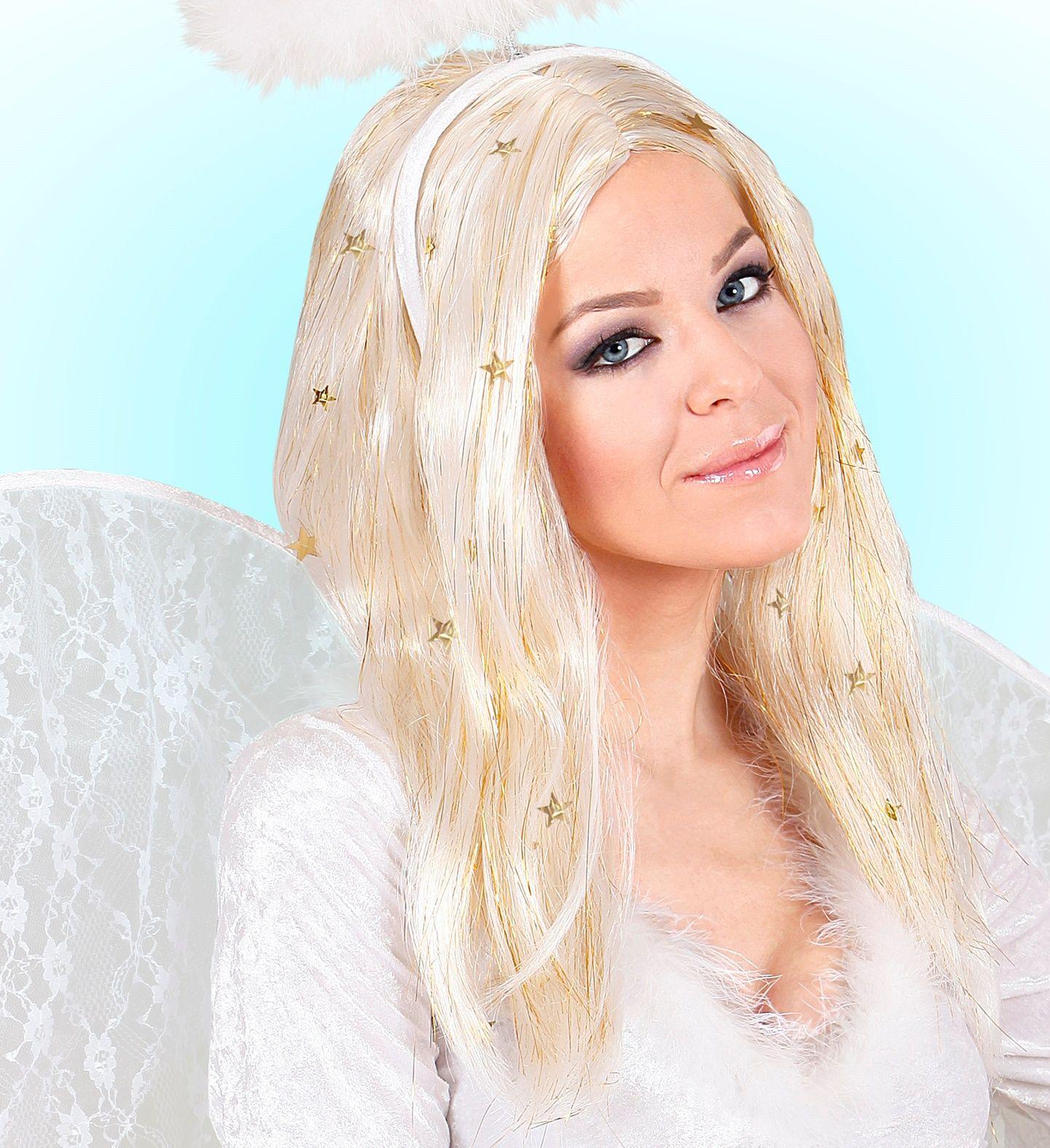 Blonde engel pruik met gouden sterretjes