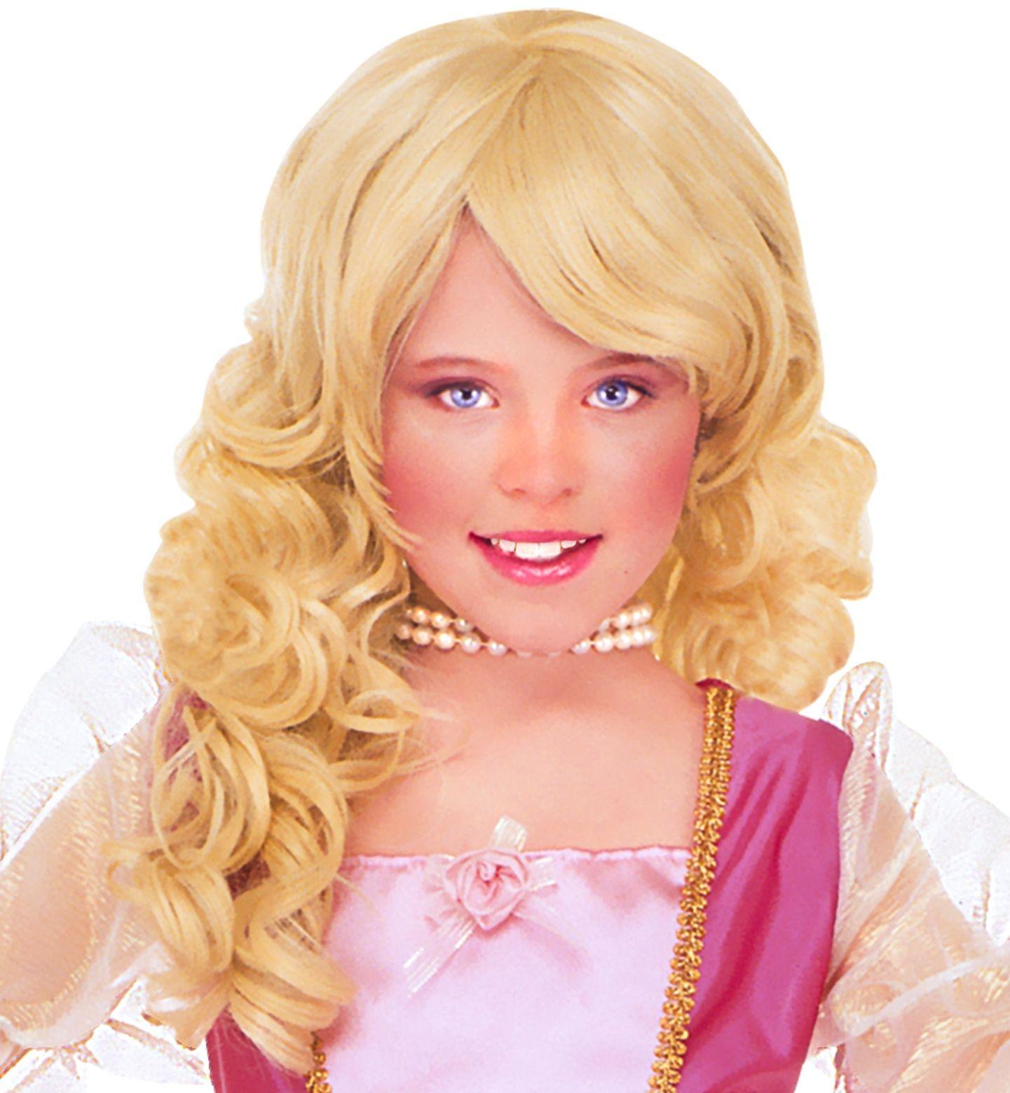 Blonde glamour pruik met krullen kind