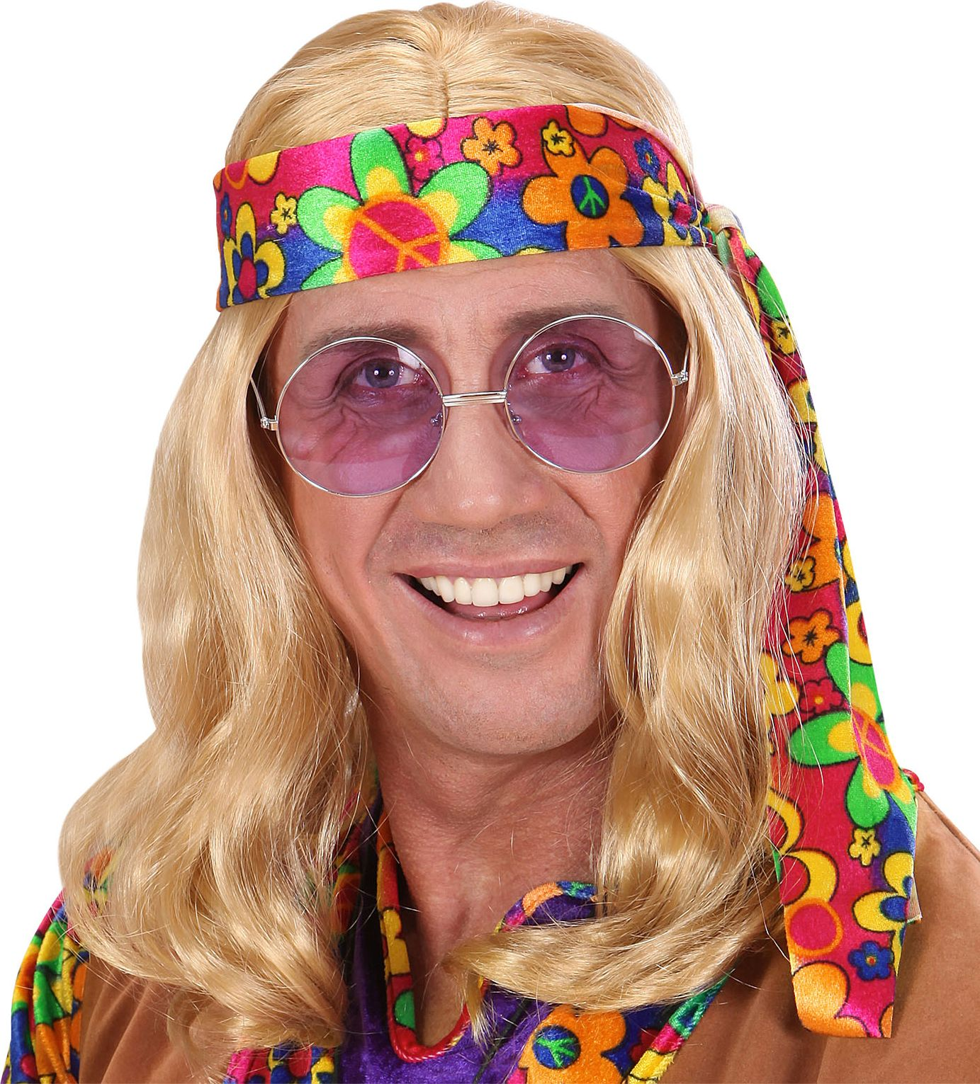 Blonde hippie pruik