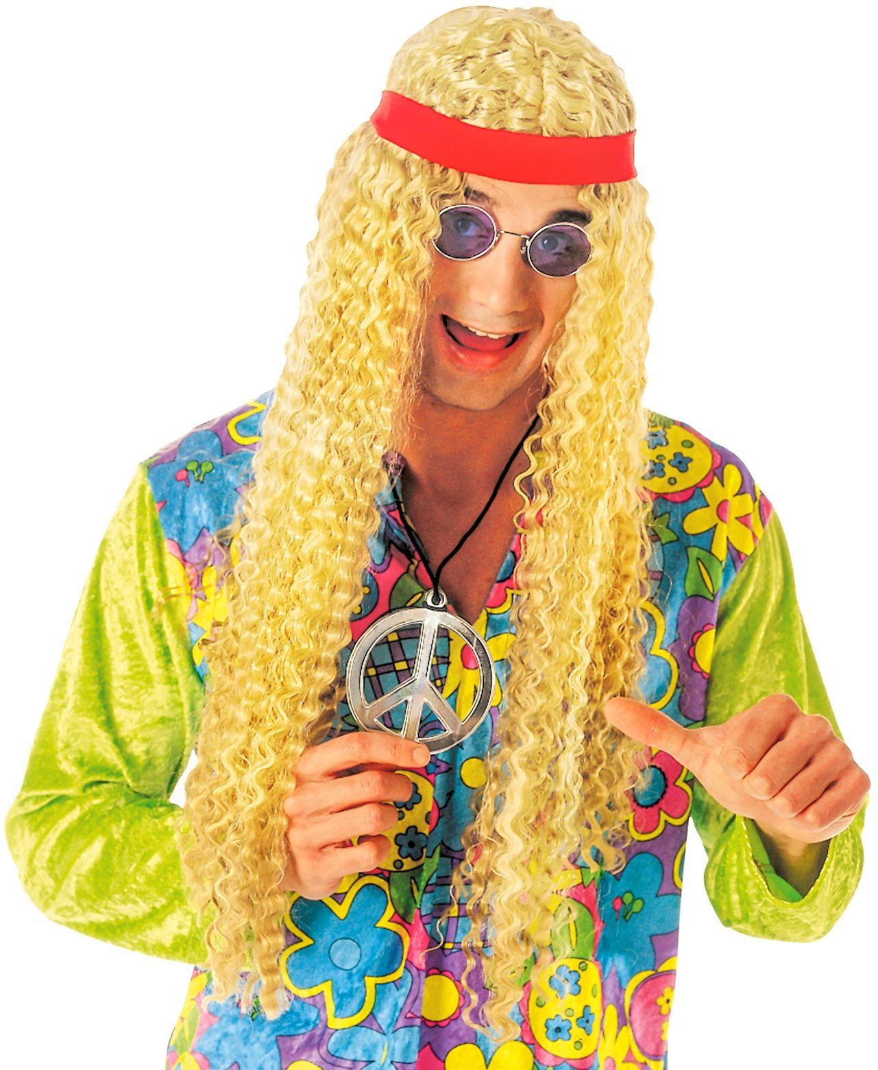 Blonde hippie pruik met hoofdband