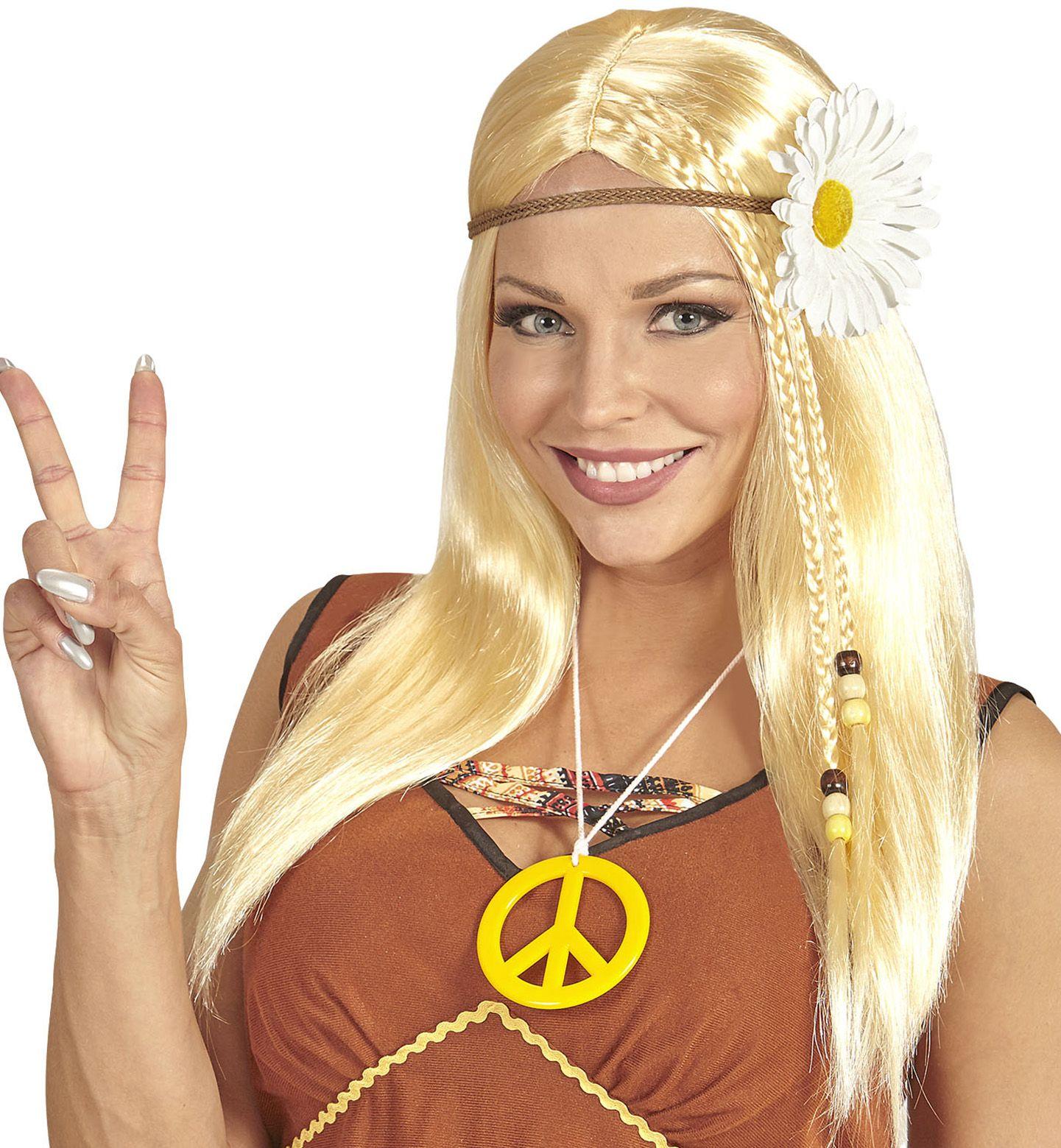 Blonde hippie pruik met madelief hoofdband
