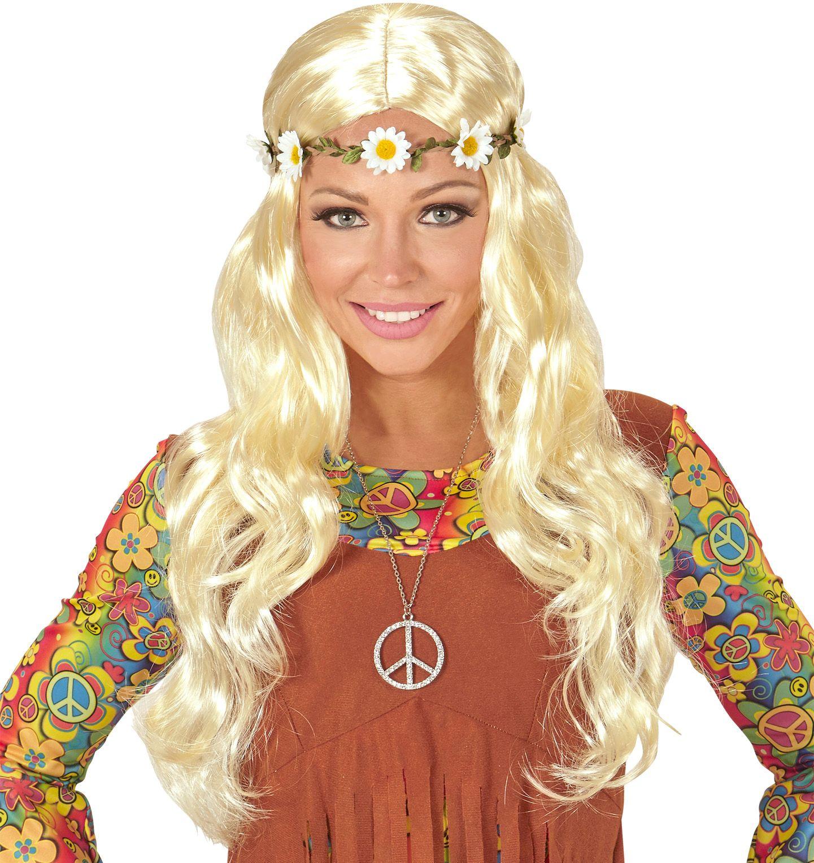 Blonde hippie pruik met madeliefjes hoofdband