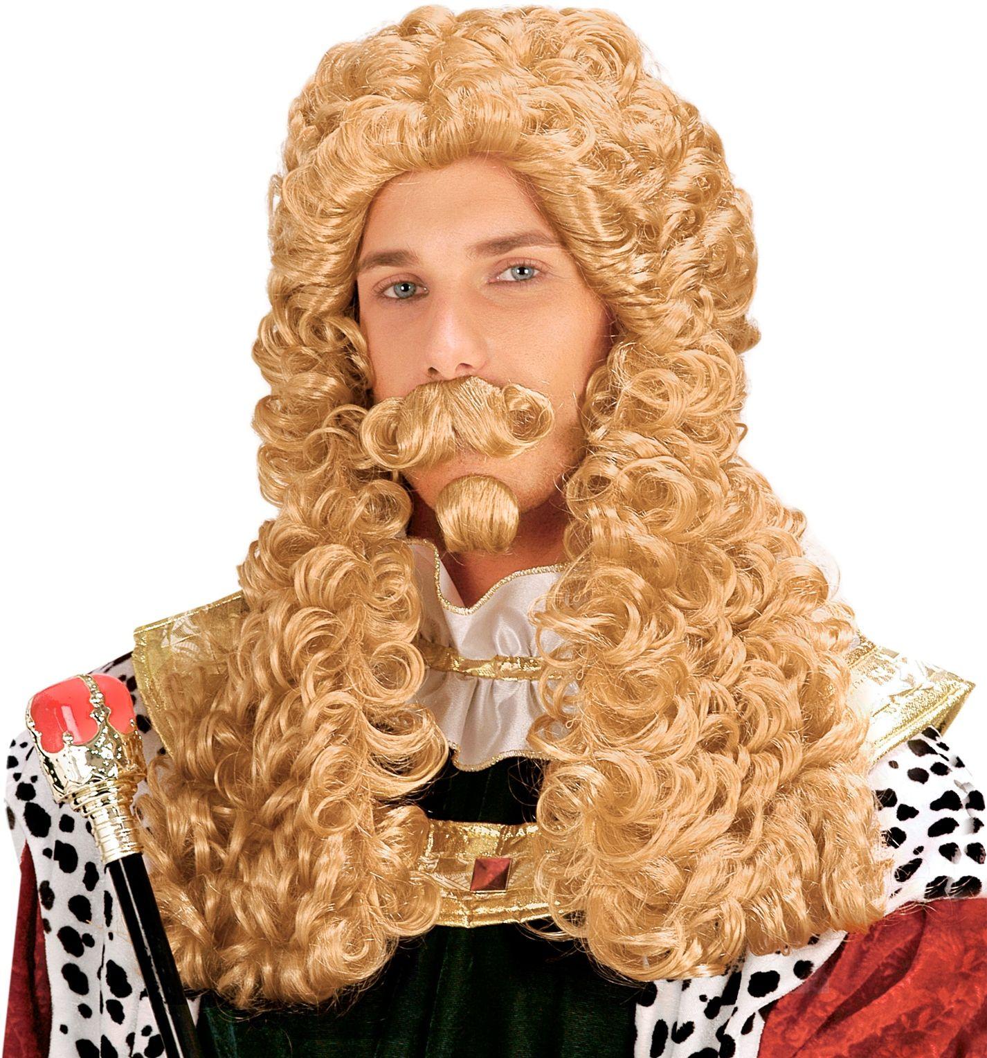 Blonde koning pruik met snor en sik