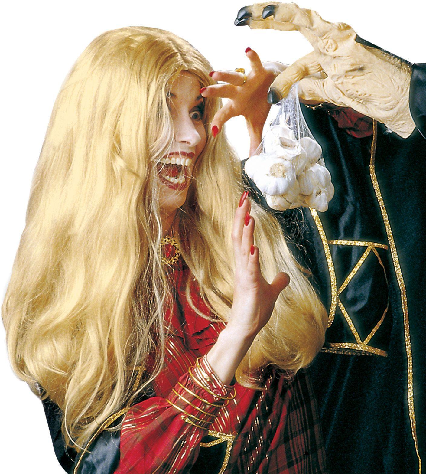 Blonde lange heksen pruik