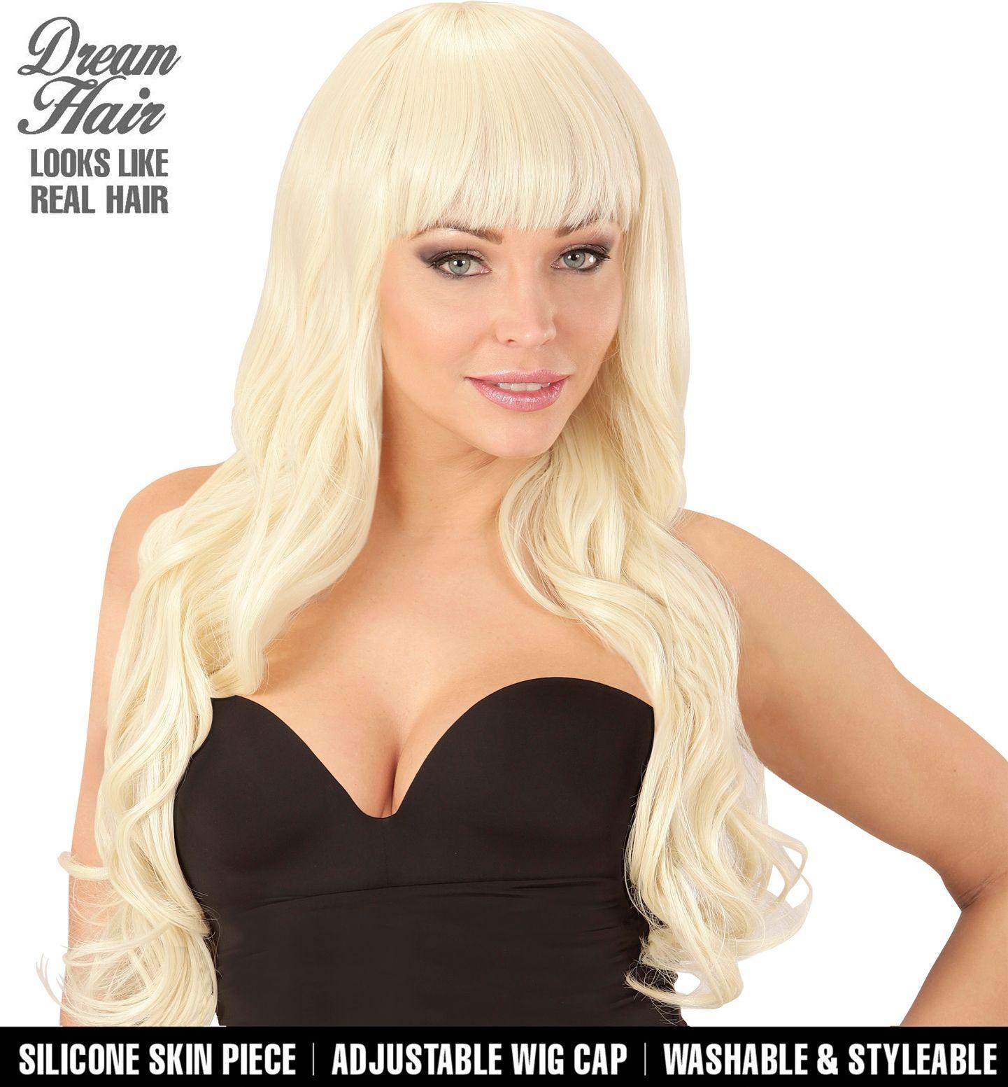 Blonde lange pruik