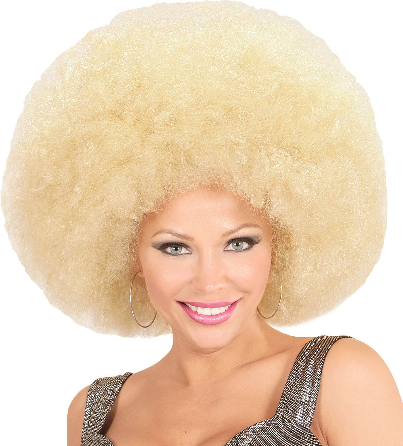 Blonde maxi afro pruik