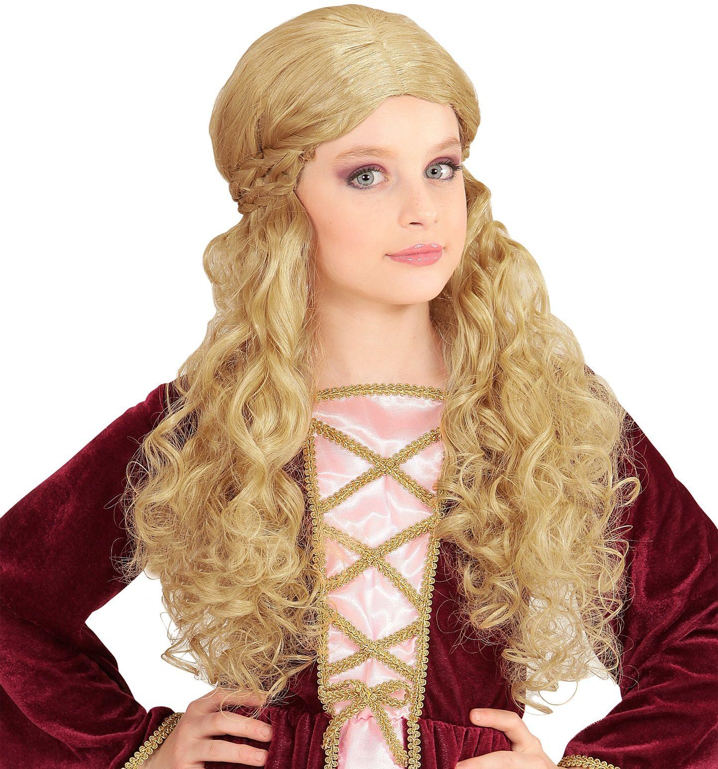 Blonde middeleeuwse meisjes pruik