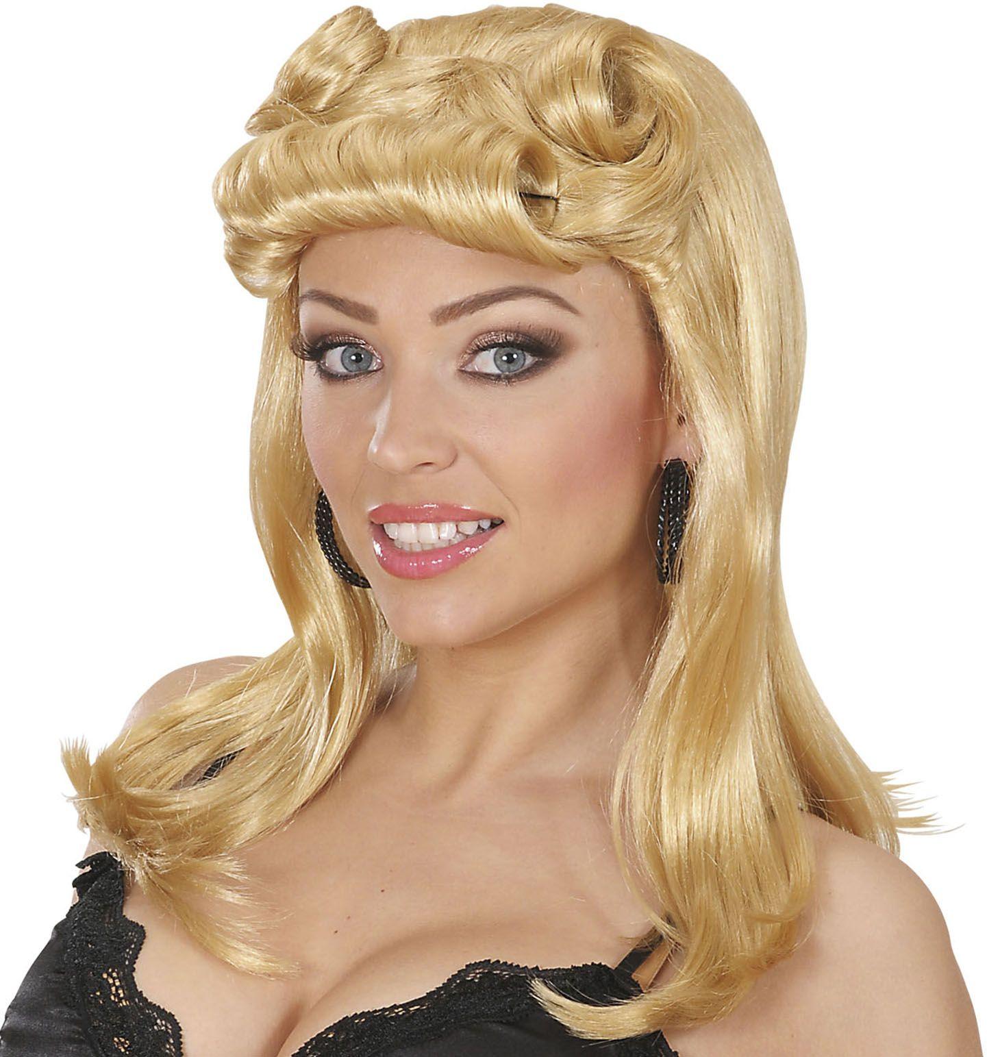 Blonde pin-up pruik