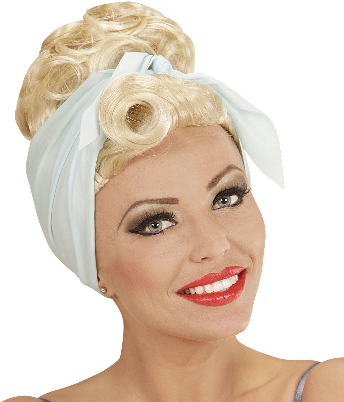 Blonde pin-up pruik met hoofddoek