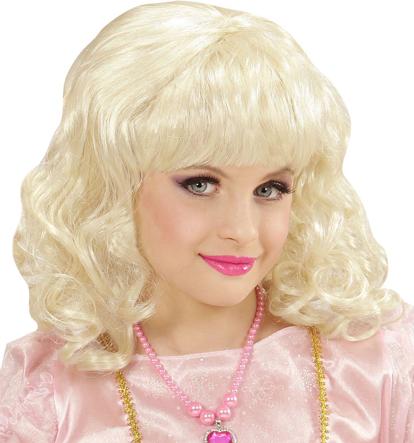 Blonde prinses pruik kind