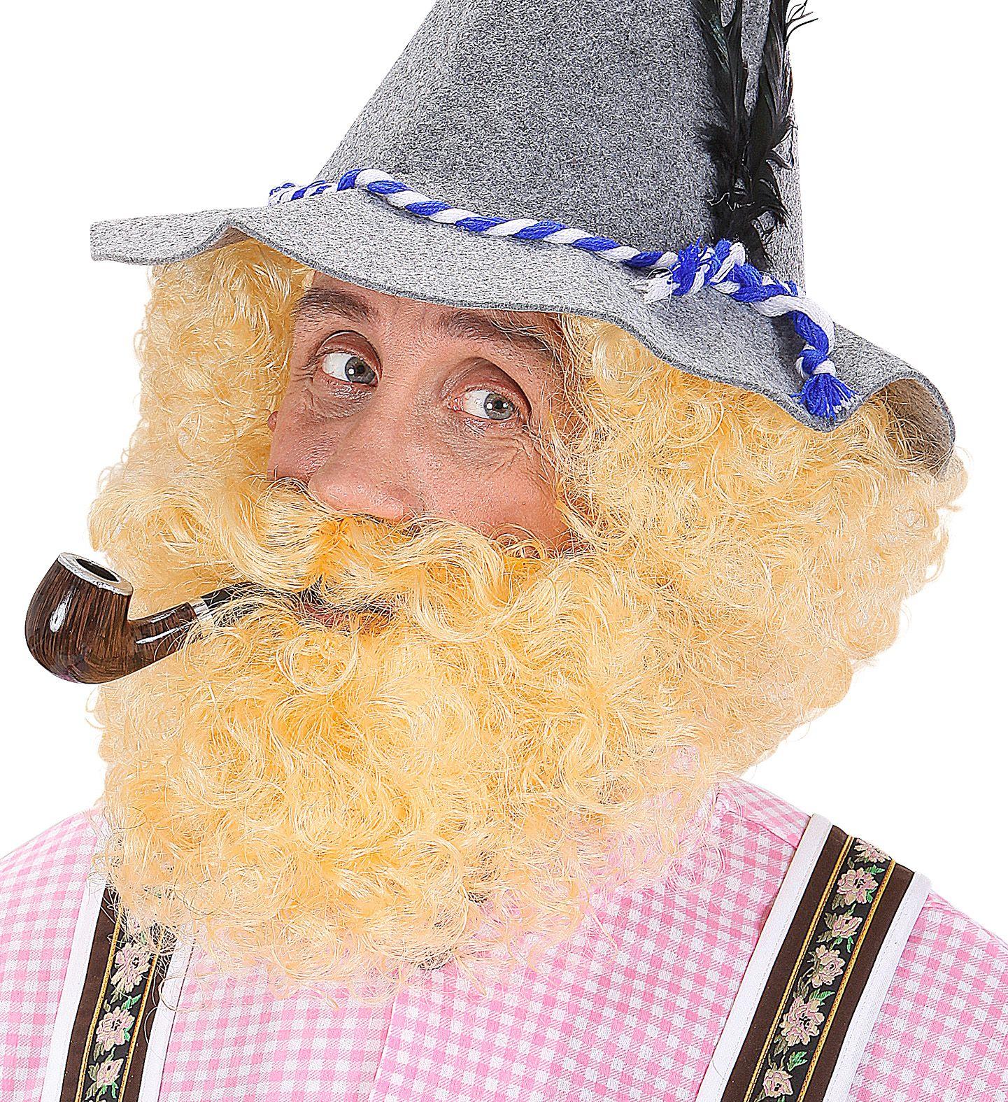 Blonde pruik en baard met krullen