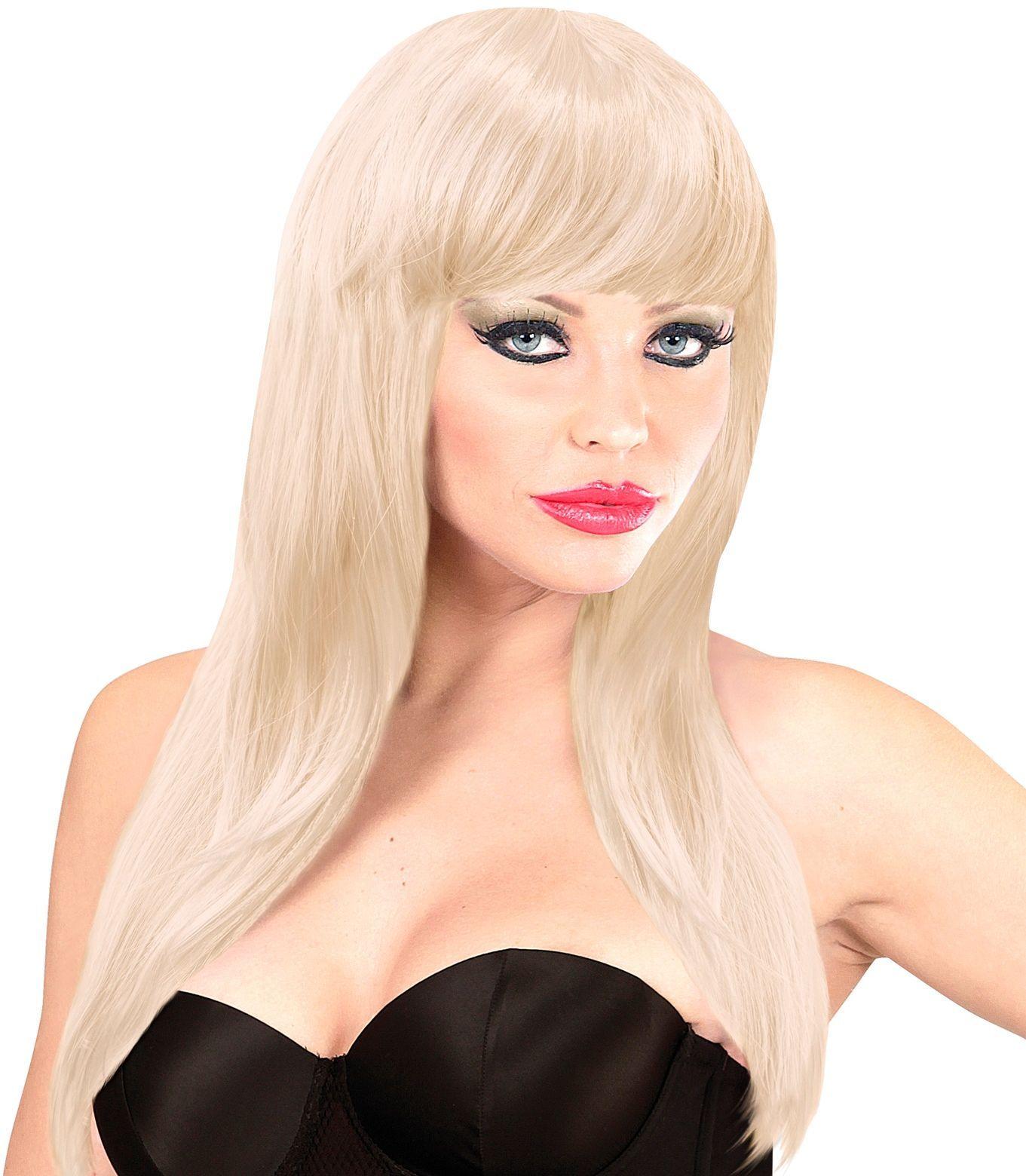 Blonde pruik lang haar