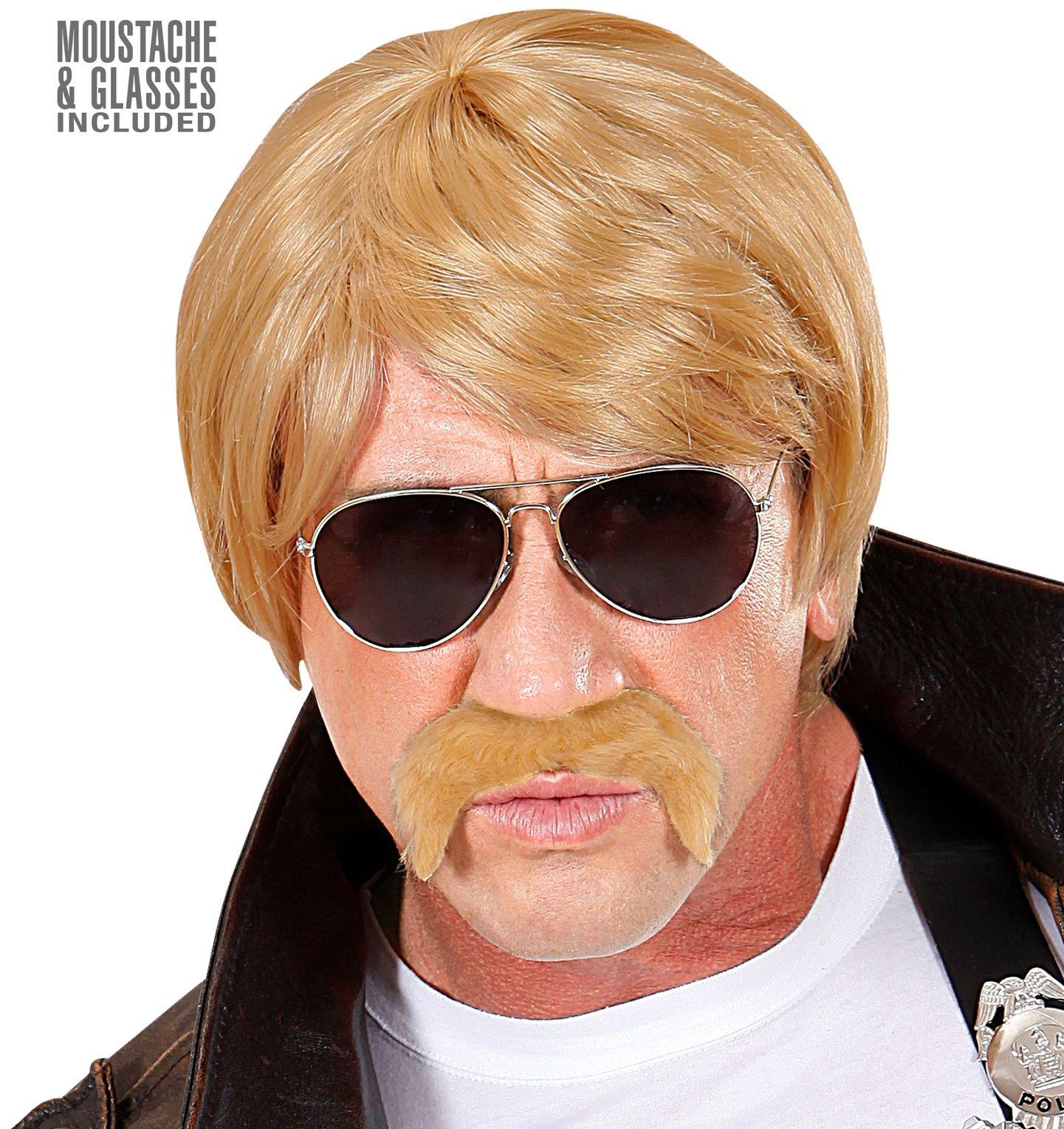 Blonde pruik met snor en bril
