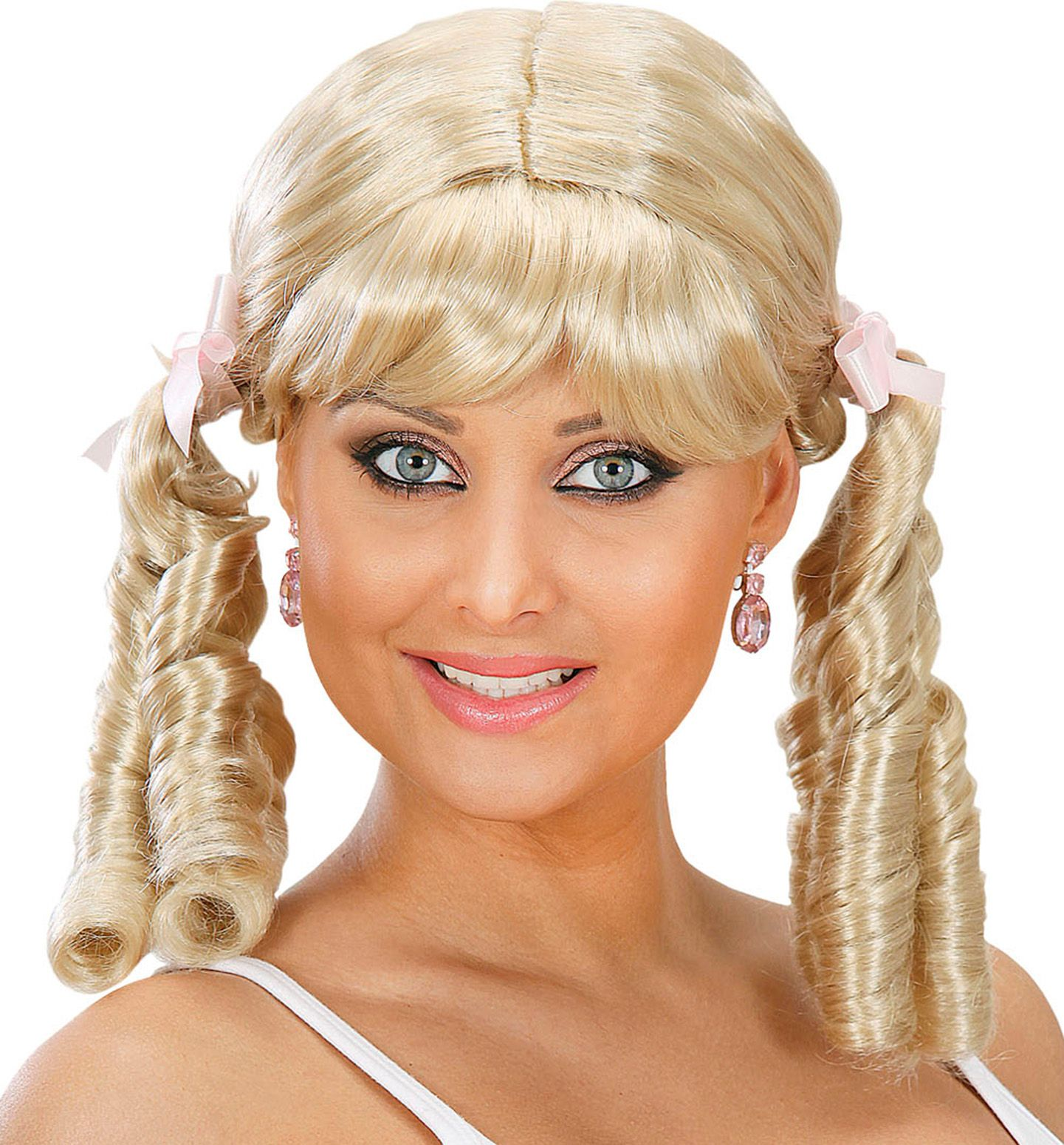 Blonde pruik met staartjes
