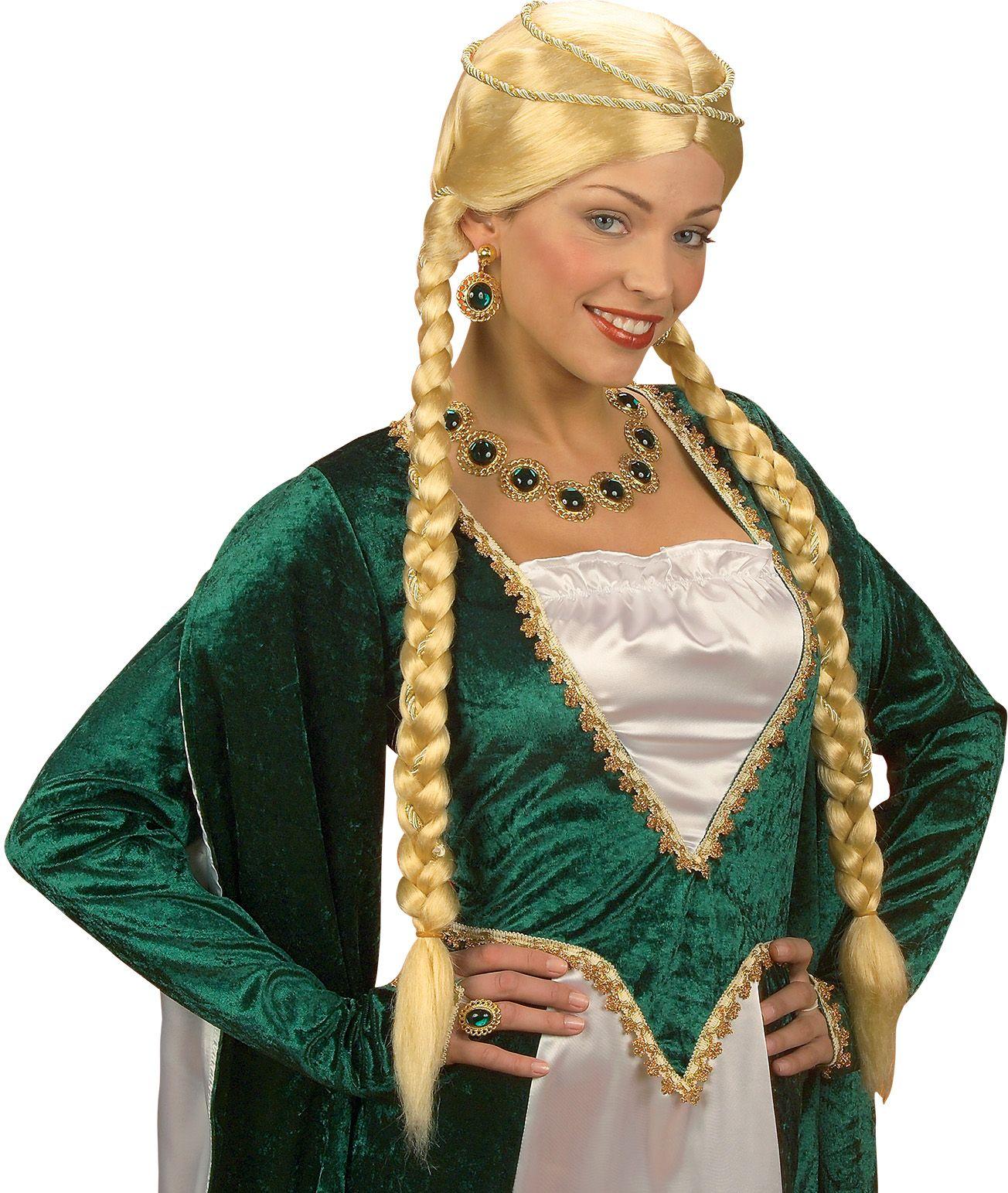 Blonde renaissance koningin pruik