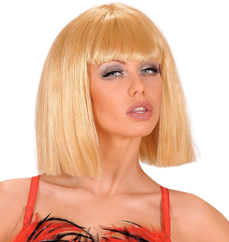 Blonde showgirl pruik