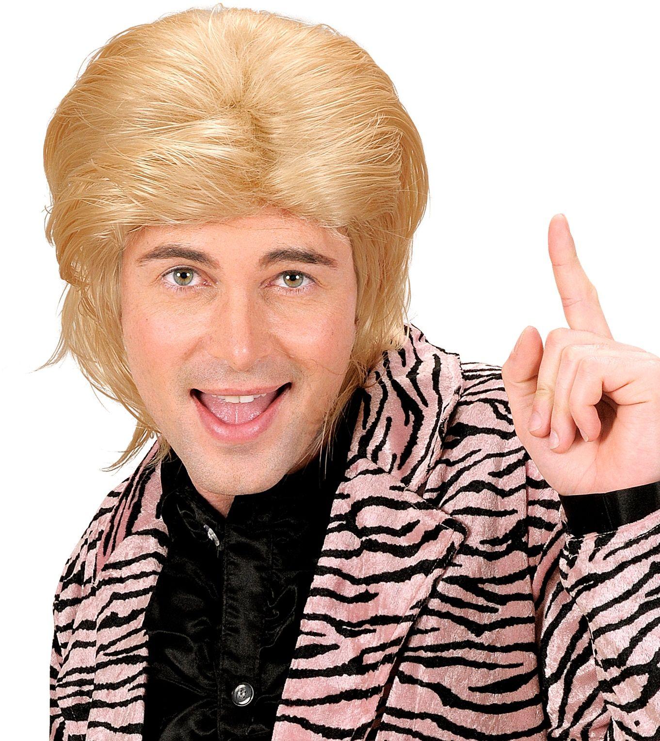 Blonde wetlook pruik lang haar