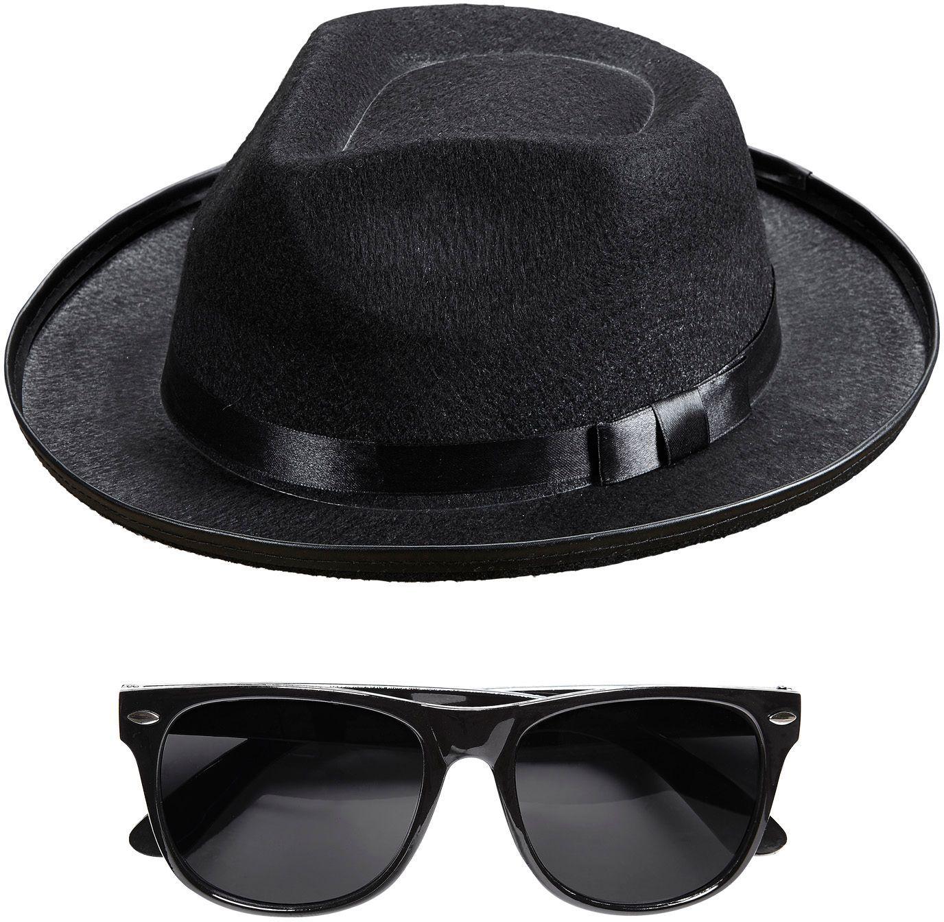Blues hoed met bril