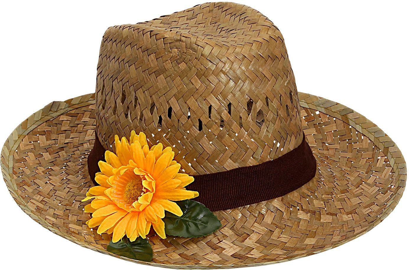 Boeren hoed met zonnebloem