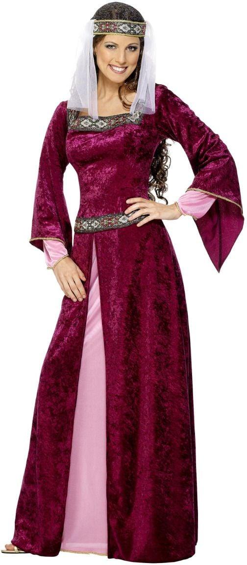 Bordeaux rode middeleeuwse jurk