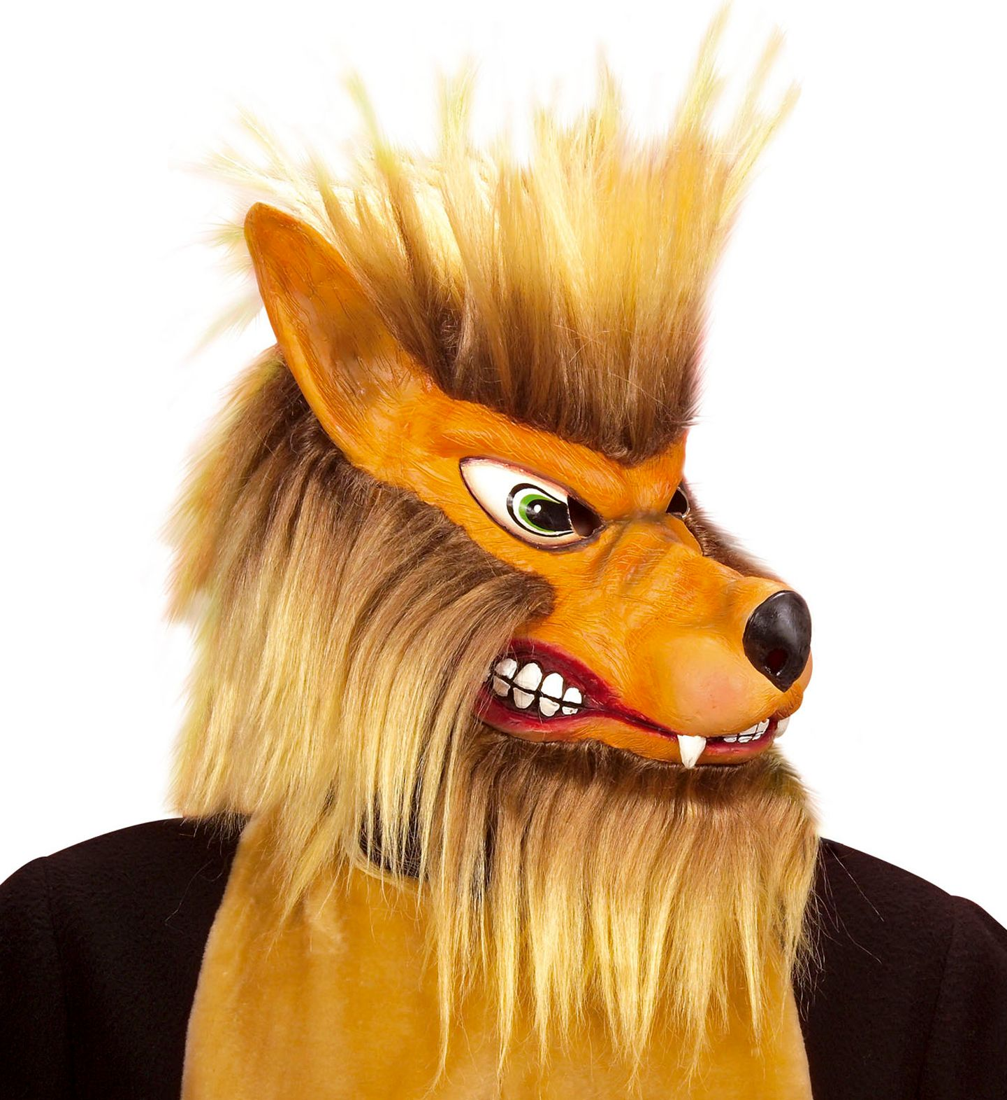 Bruin pluche wolven masker