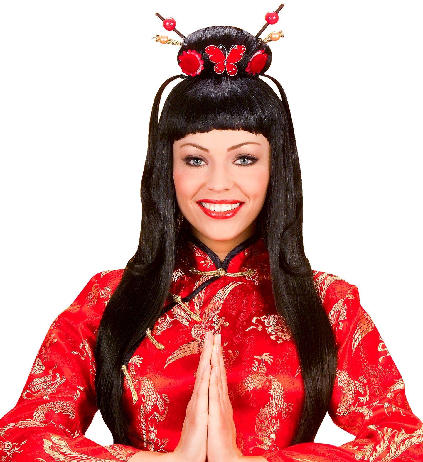 Bruine chinese pruik
