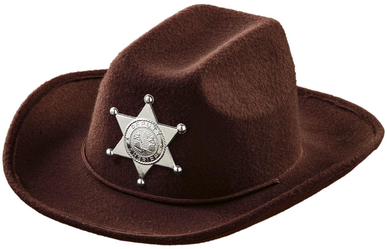 Bruine cowboy hoed met sheriff ster kind