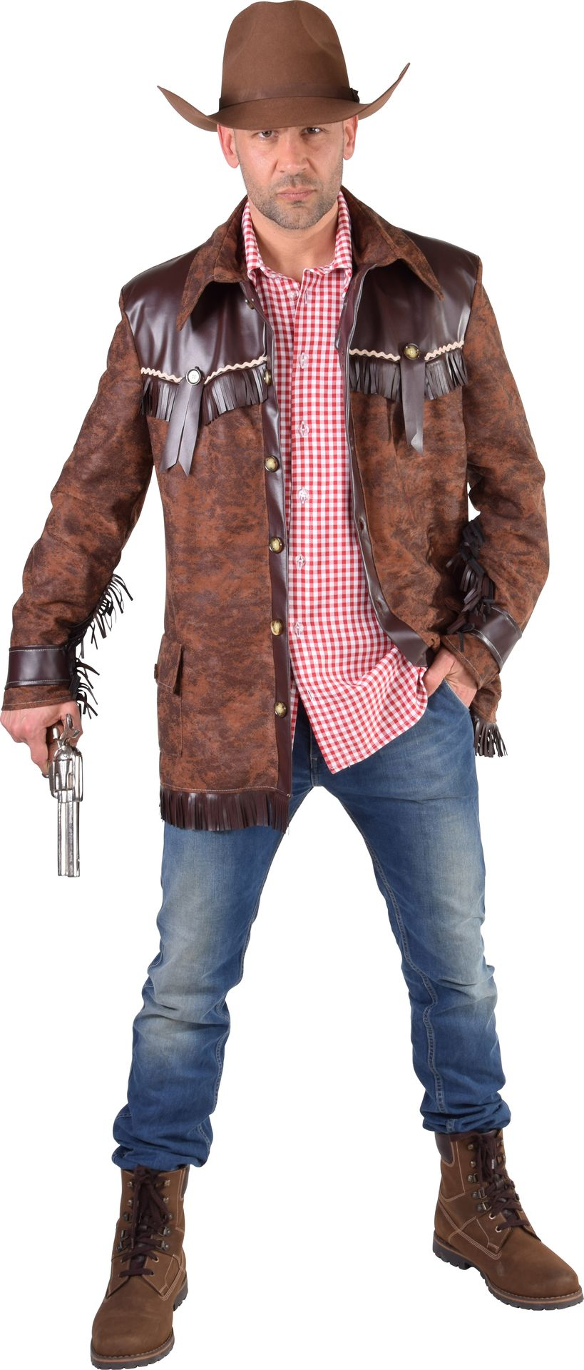 Bruine cowboy jas heren