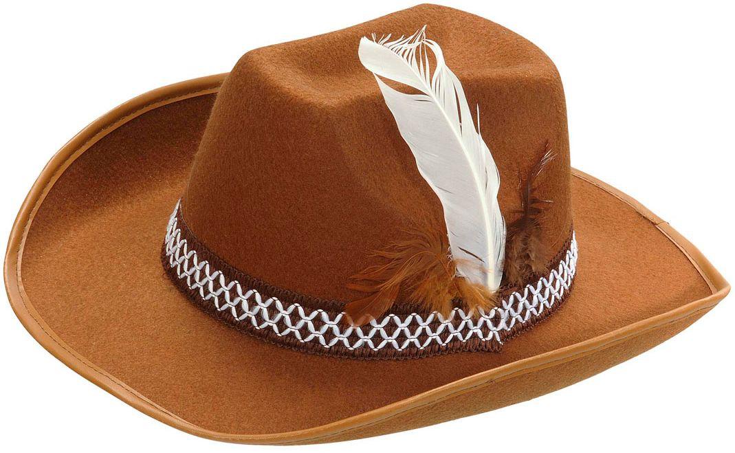 Bruine cowboyhoed met veer kind