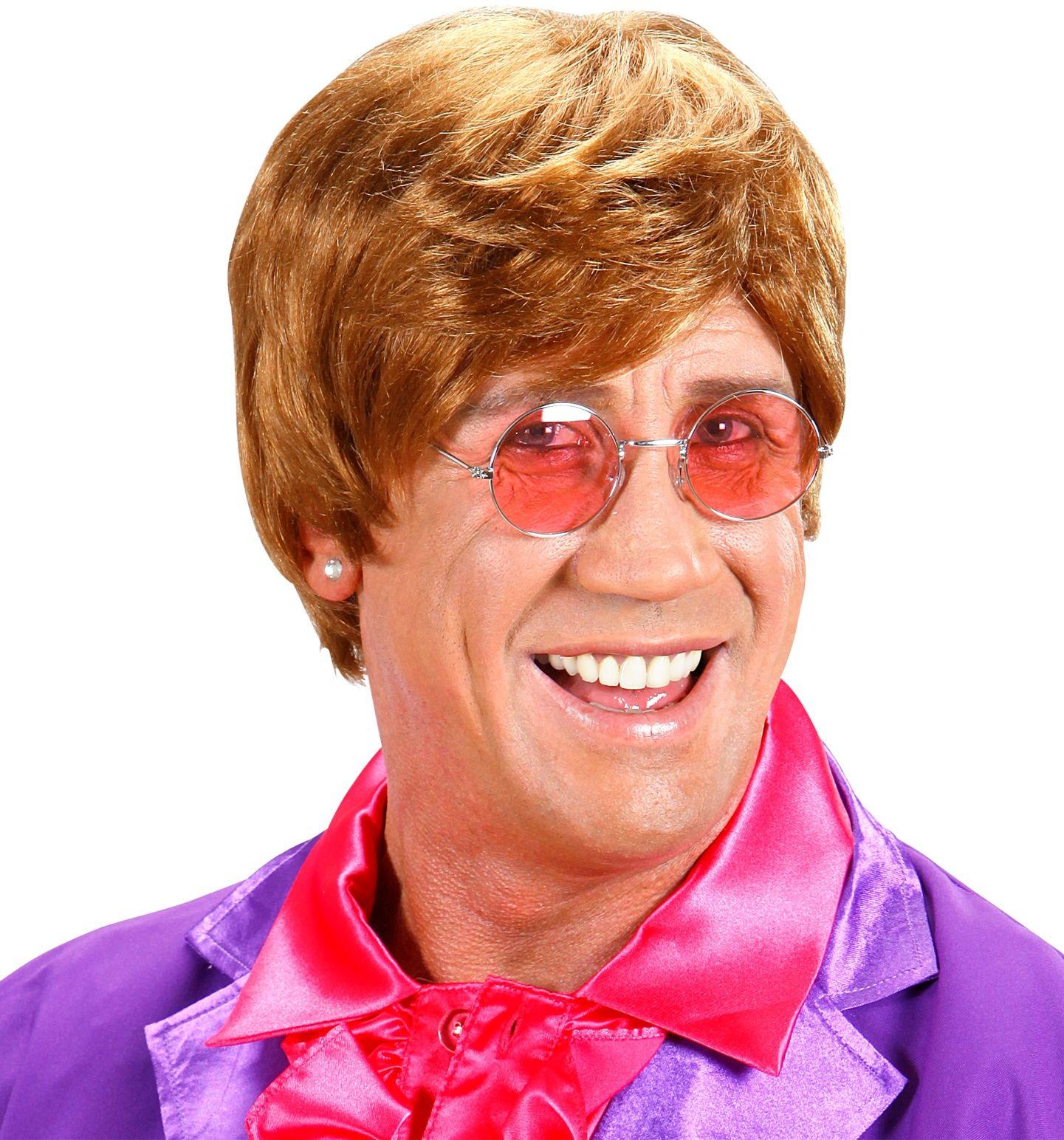 Bruine Elton John pruik