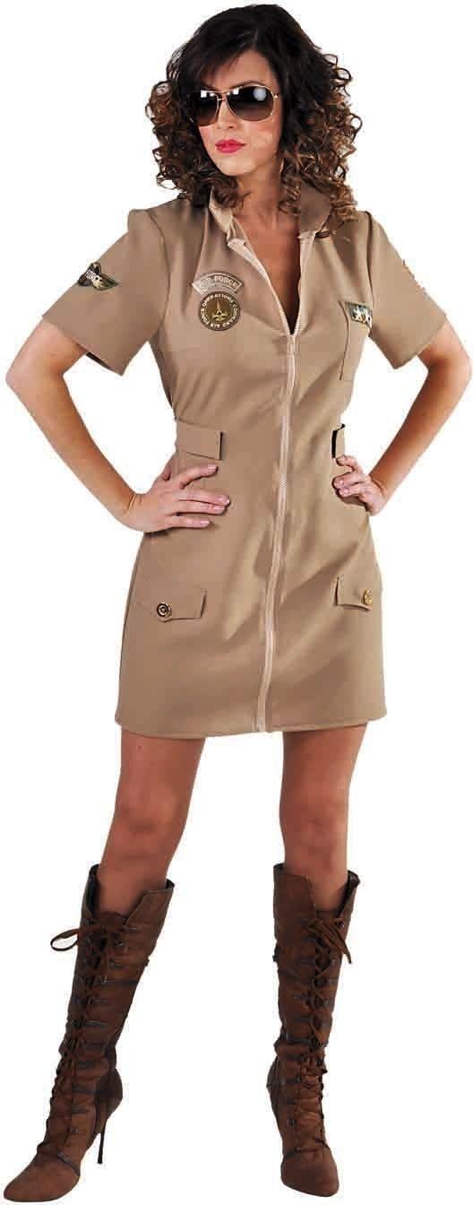 Bruine gevechtspiloot jurk dames