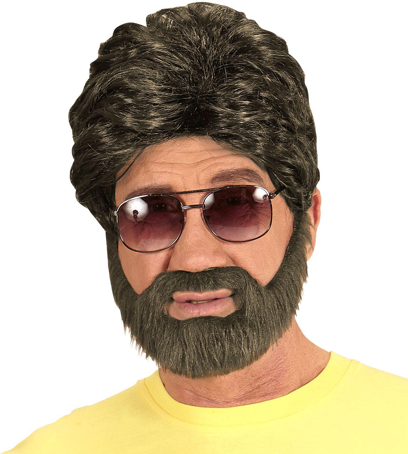 Bruine hippe pruik met baard