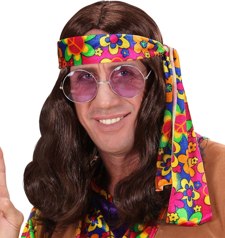 Bruine hippie pruik