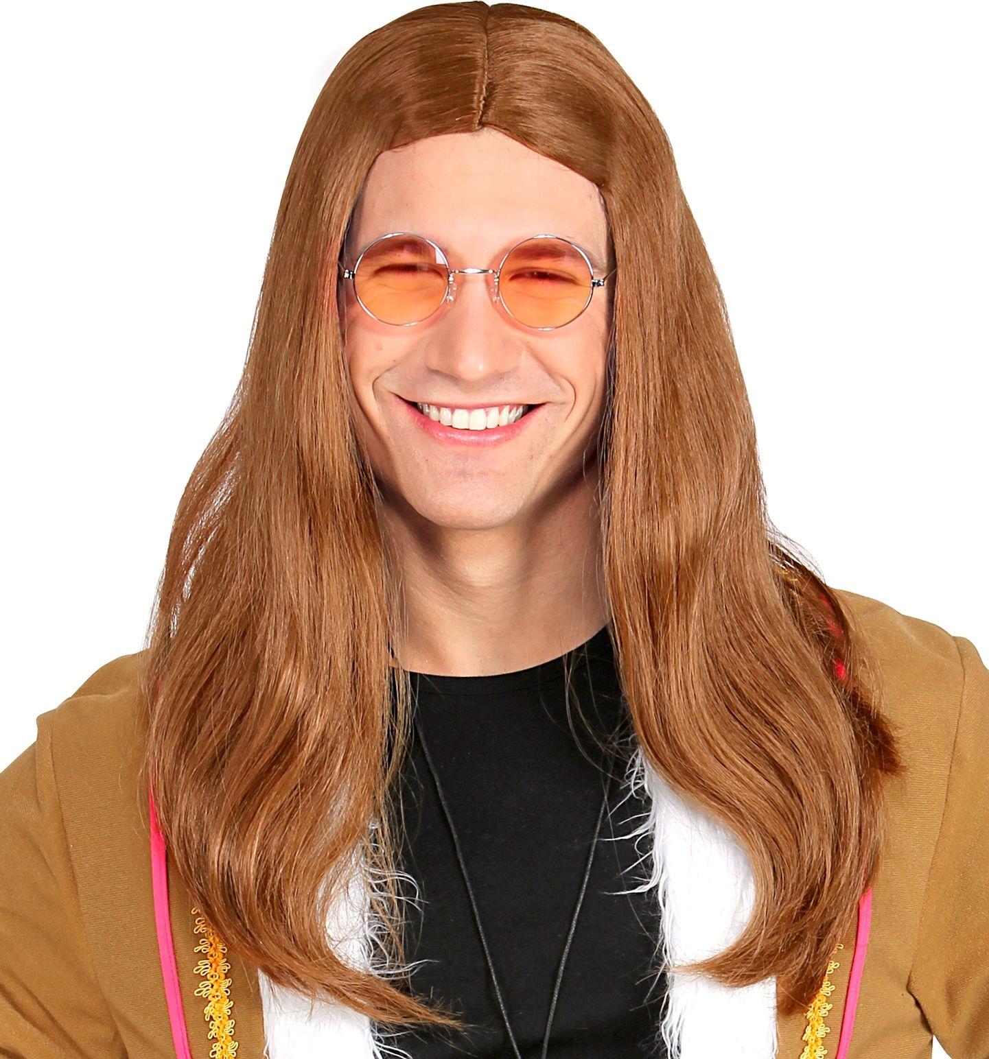 Bruine Hippie pruik heren